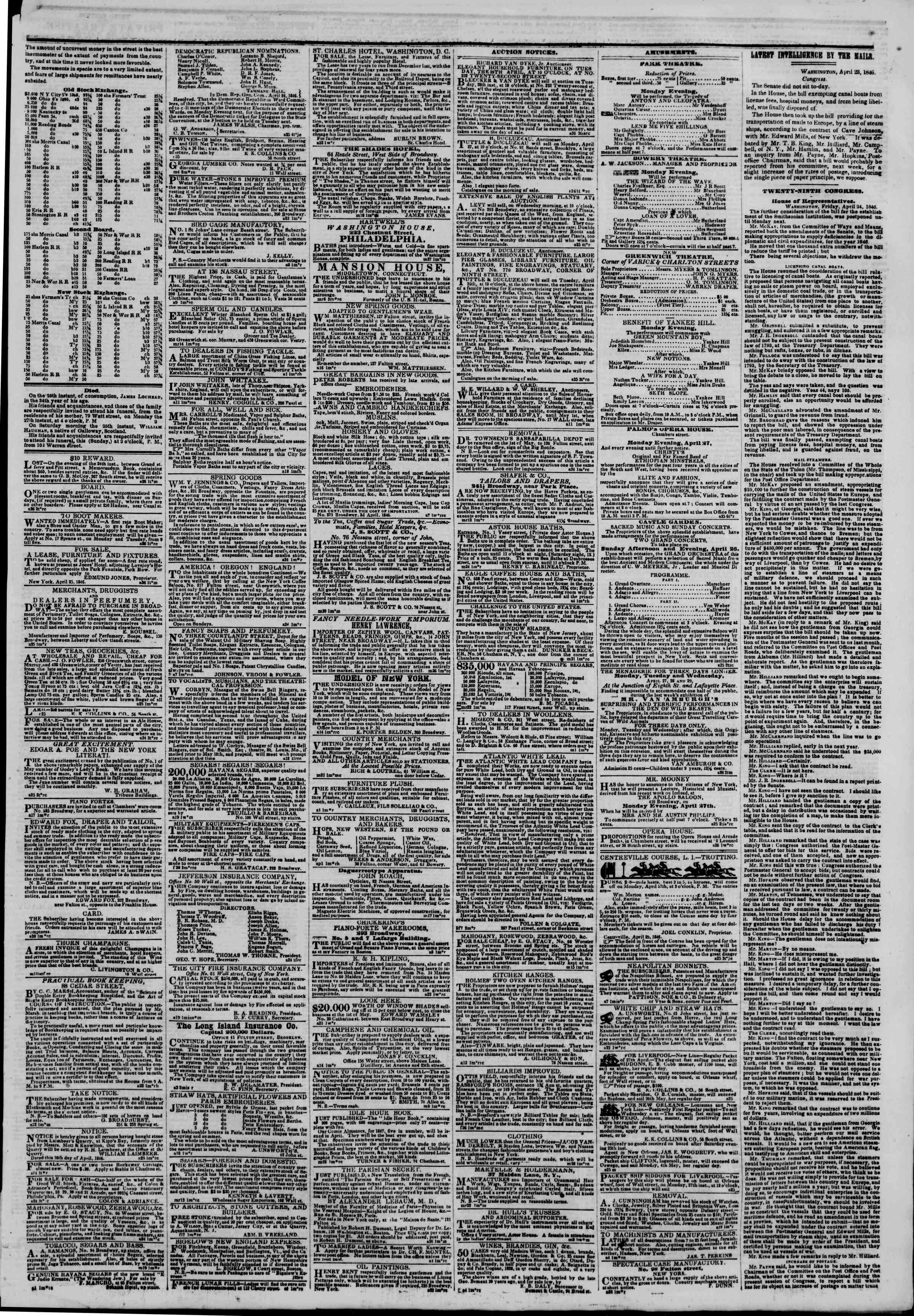 Newspaper of The New York Herald dated April 26, 1846 Page 3