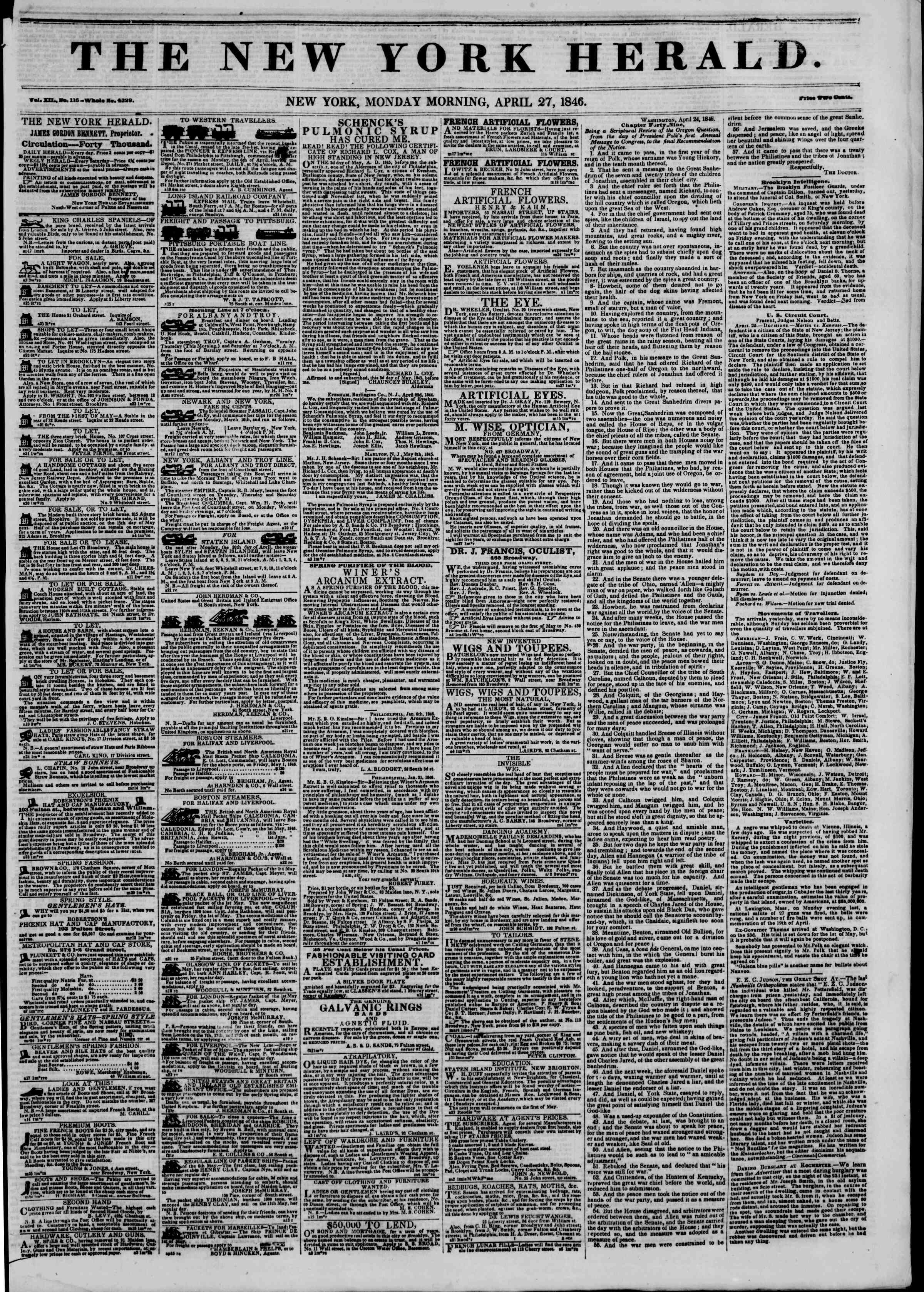 Newspaper of The New York Herald dated April 27, 1846 Page 1