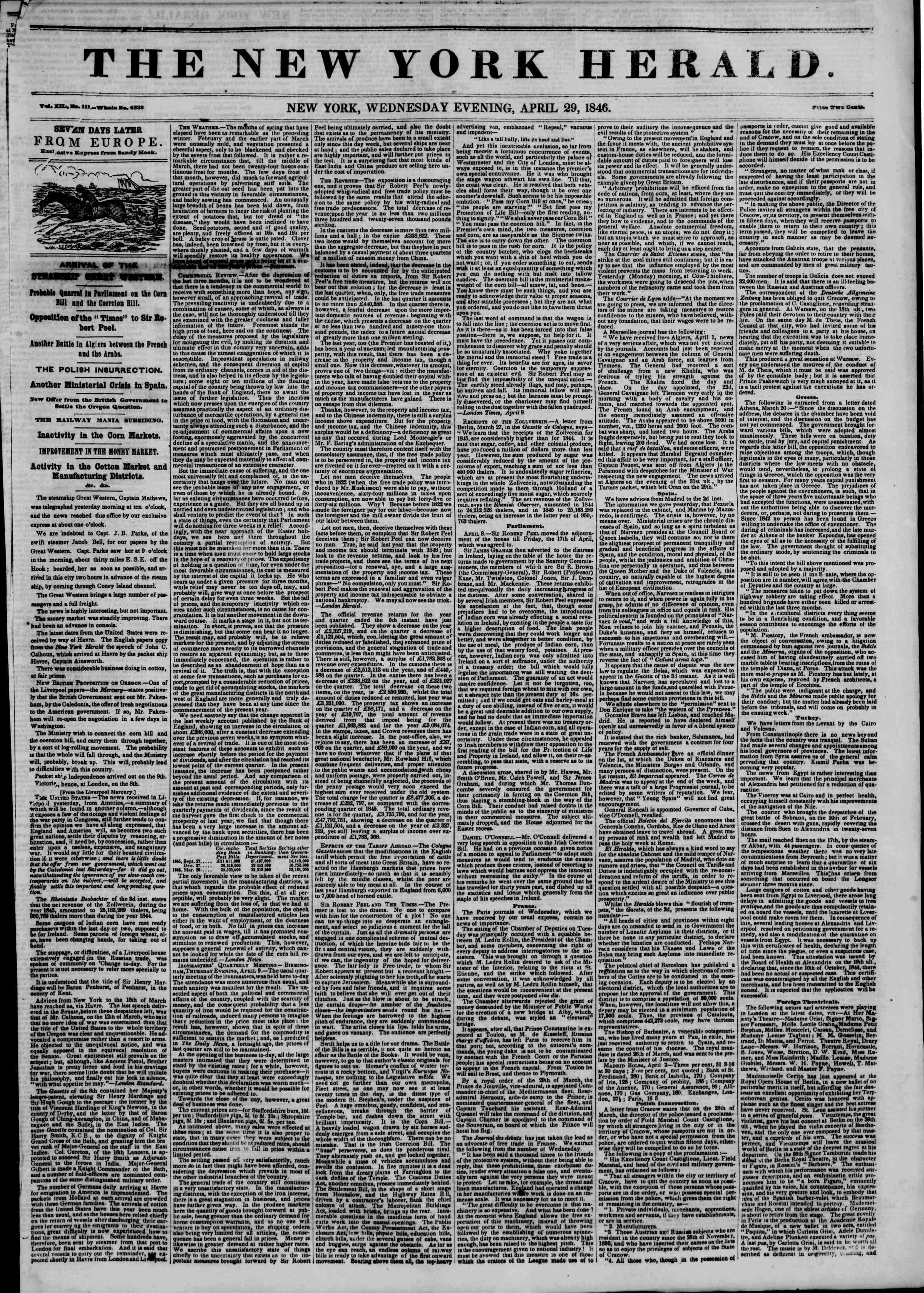 Newspaper of The New York Herald dated 29 Nisan 1846 Page 1