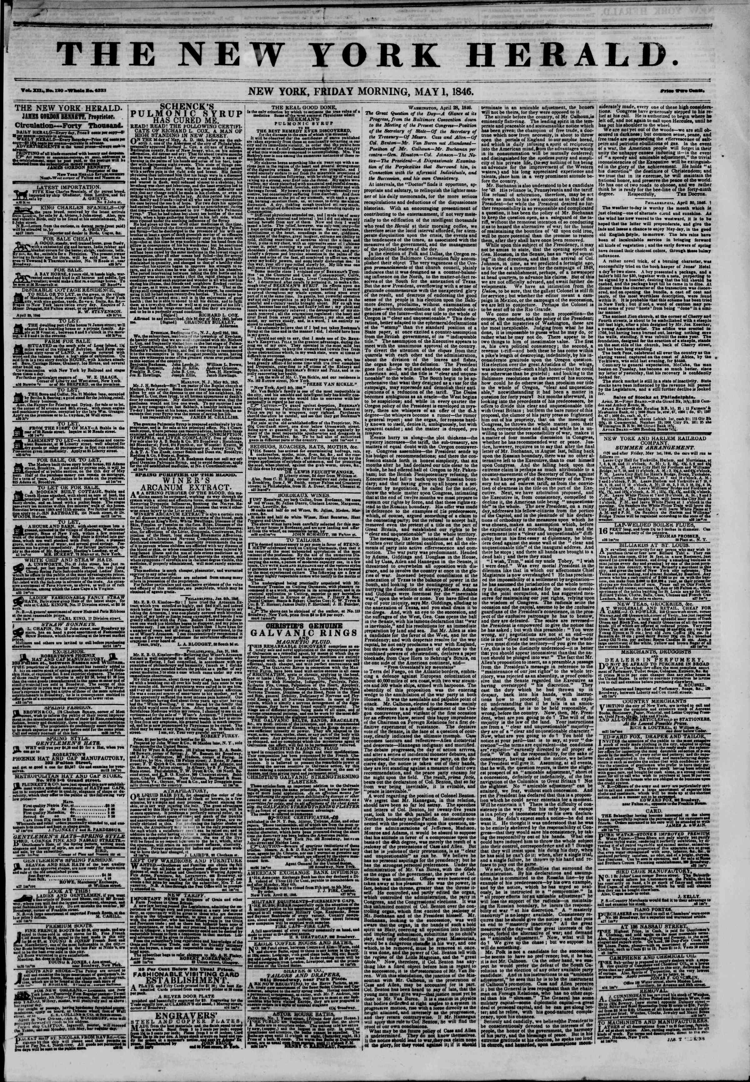 Newspaper of The New York Herald dated May 1, 1846 Page 1