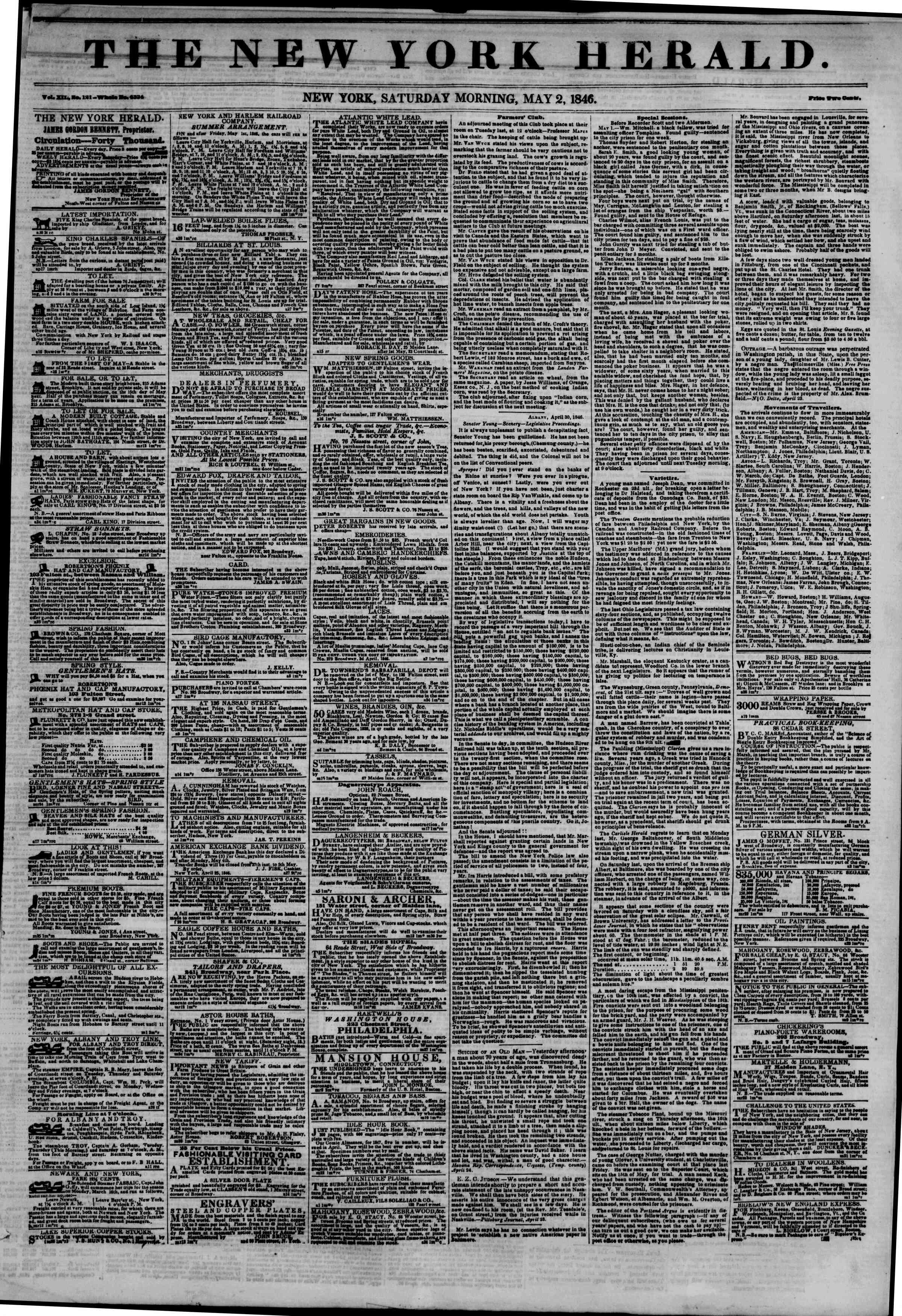 Newspaper of The New York Herald dated May 2, 1846 Page 1