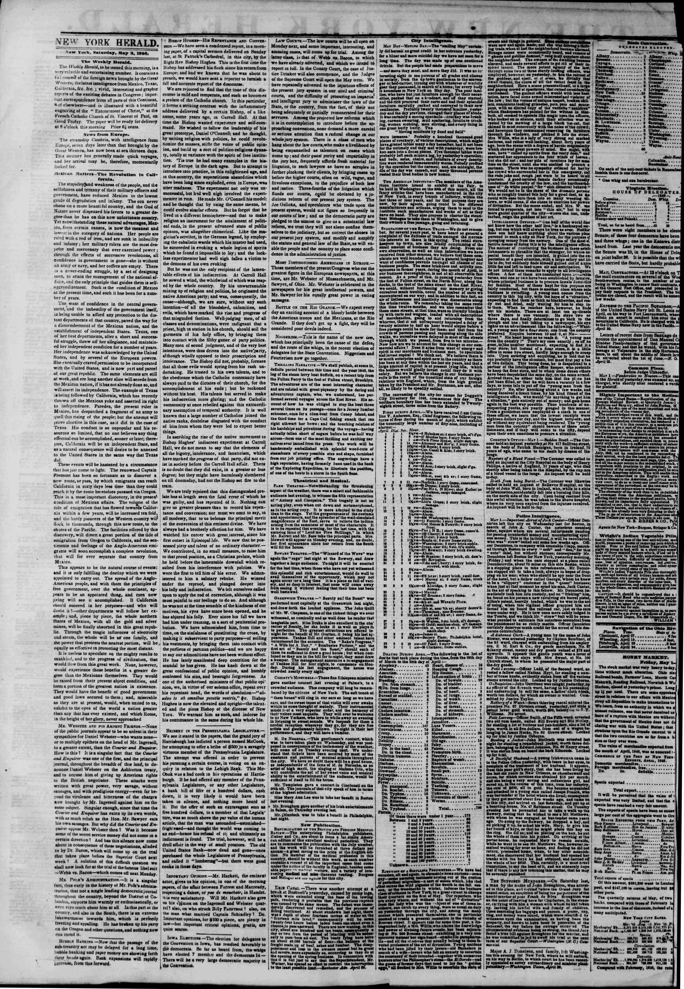 Newspaper of The New York Herald dated May 2, 1846 Page 2