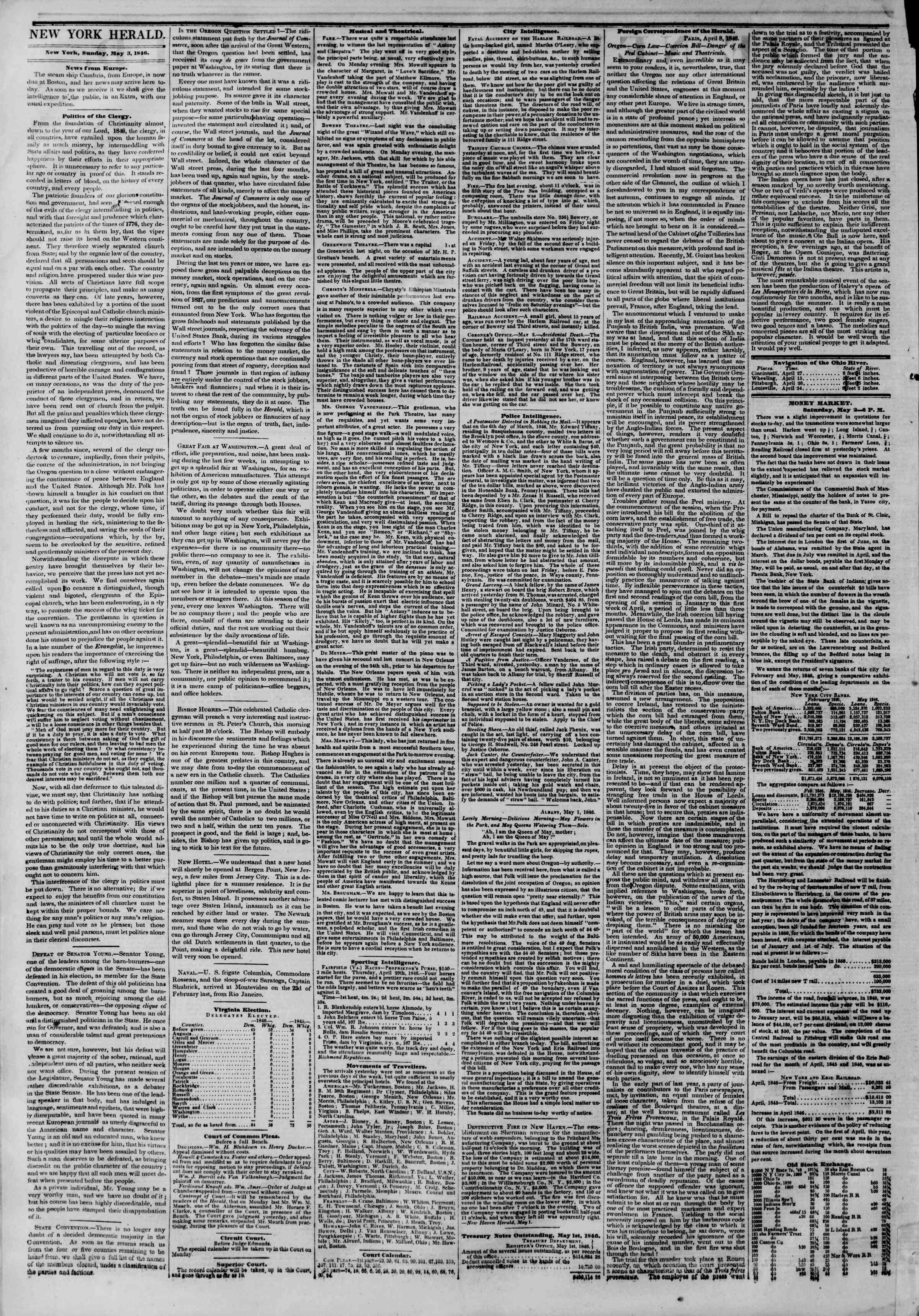 Newspaper of The New York Herald dated May 3, 1846 Page 2
