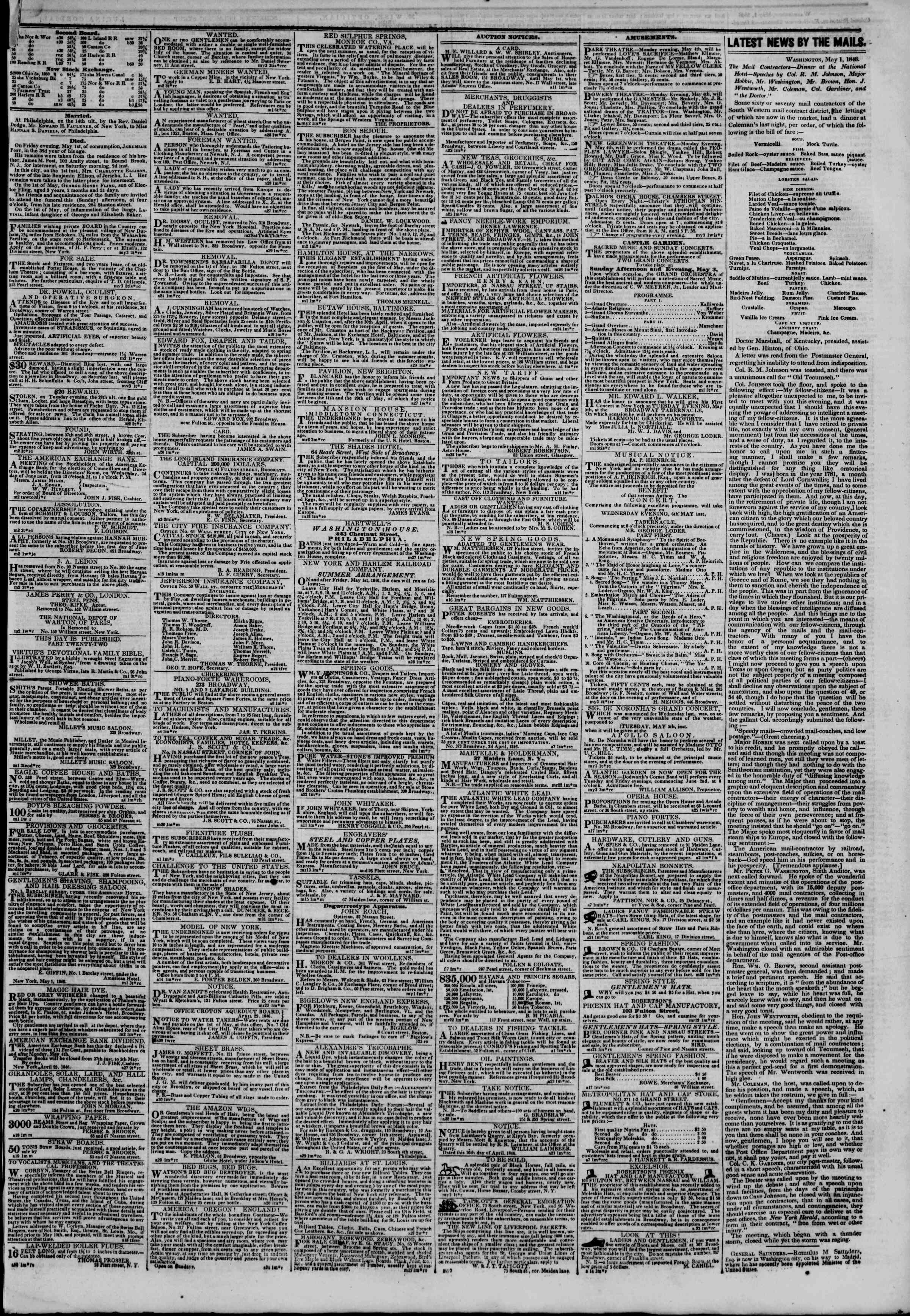 Newspaper of The New York Herald dated May 3, 1846 Page 3
