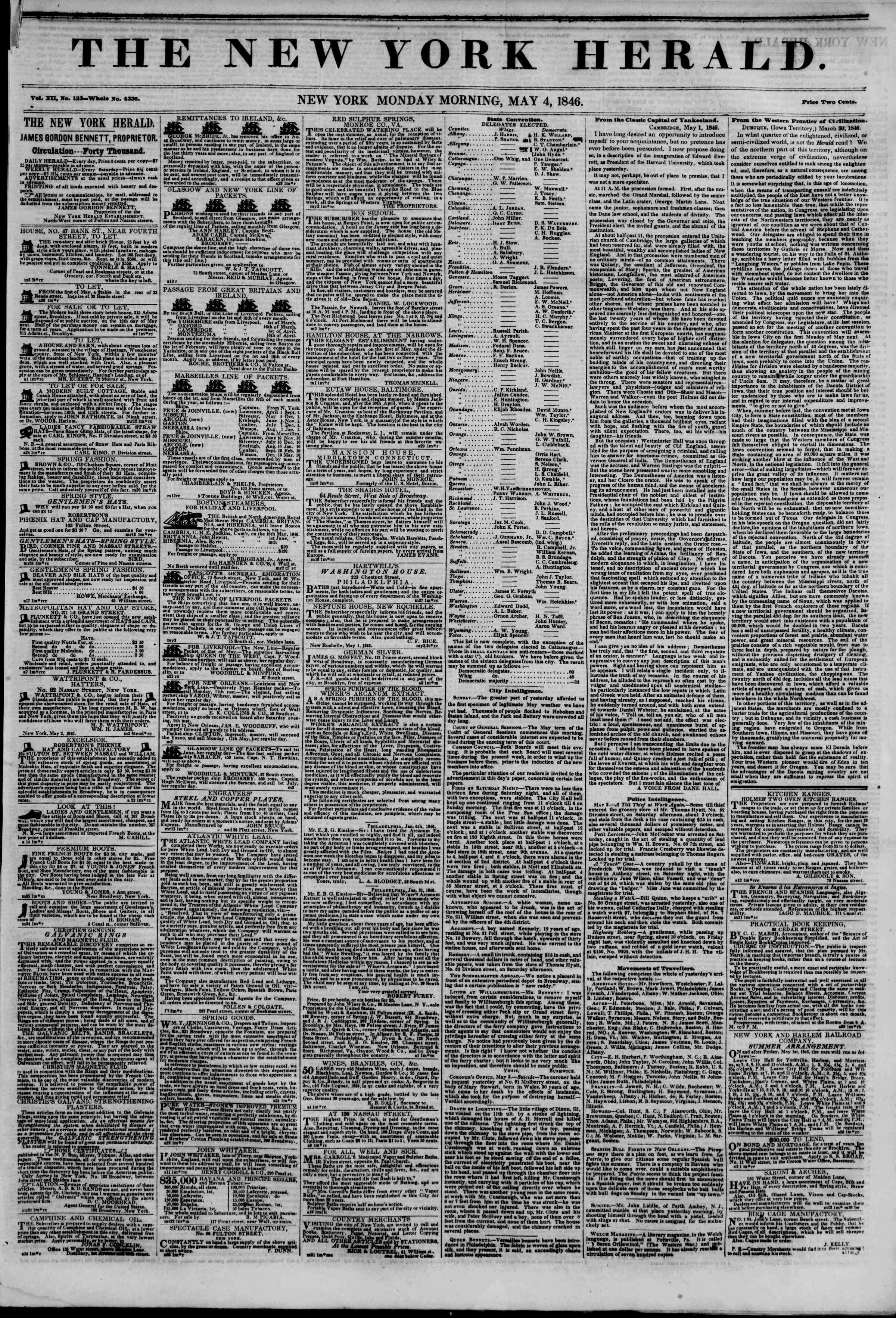 Newspaper of The New York Herald dated May 4, 1846 Page 1