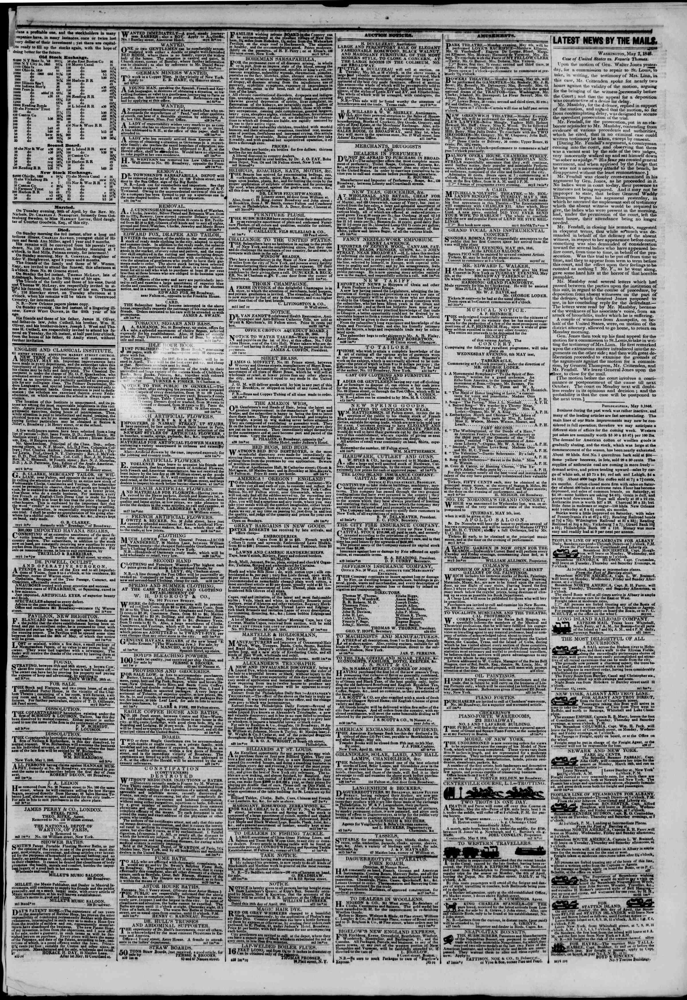 Newspaper of The New York Herald dated May 4, 1846 Page 3