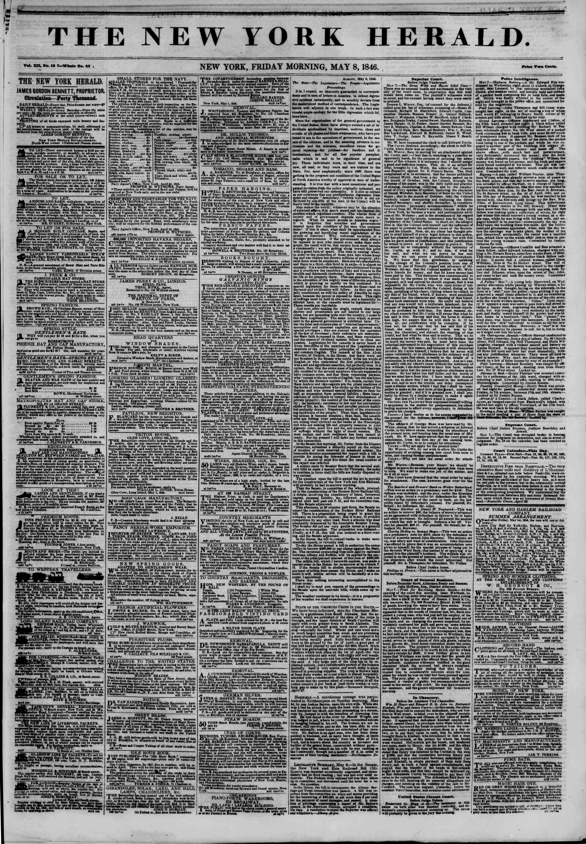 Newspaper of The New York Herald dated May 8, 1846 Page 1