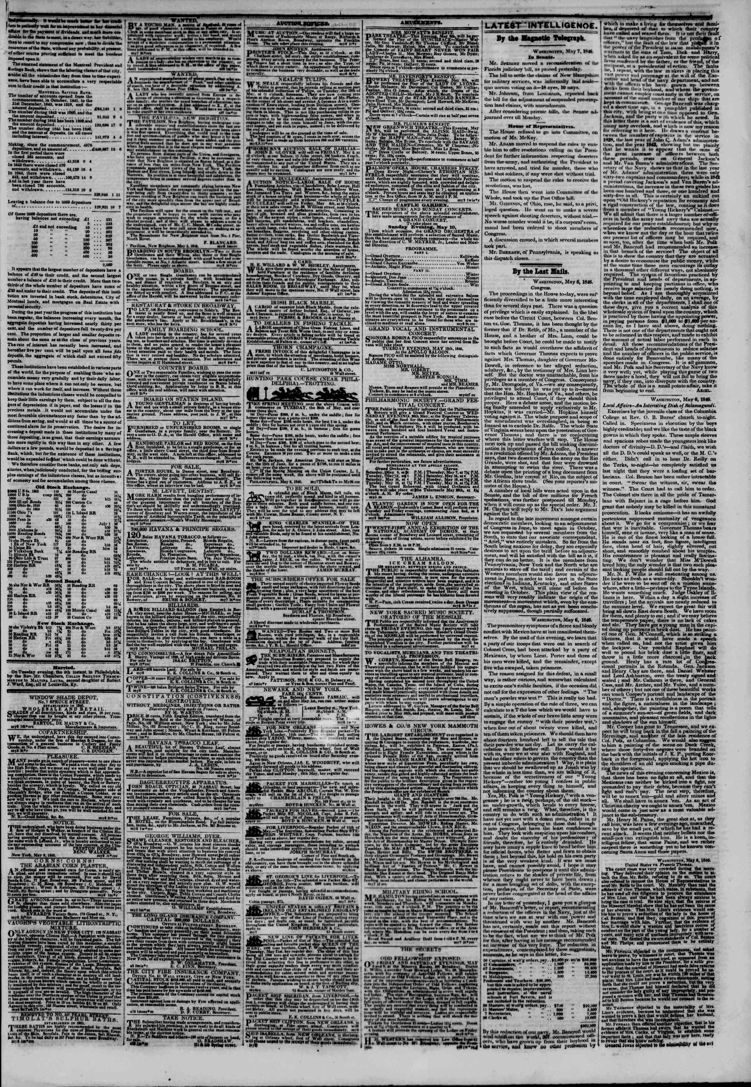Newspaper of The New York Herald dated May 8, 1846 Page 3