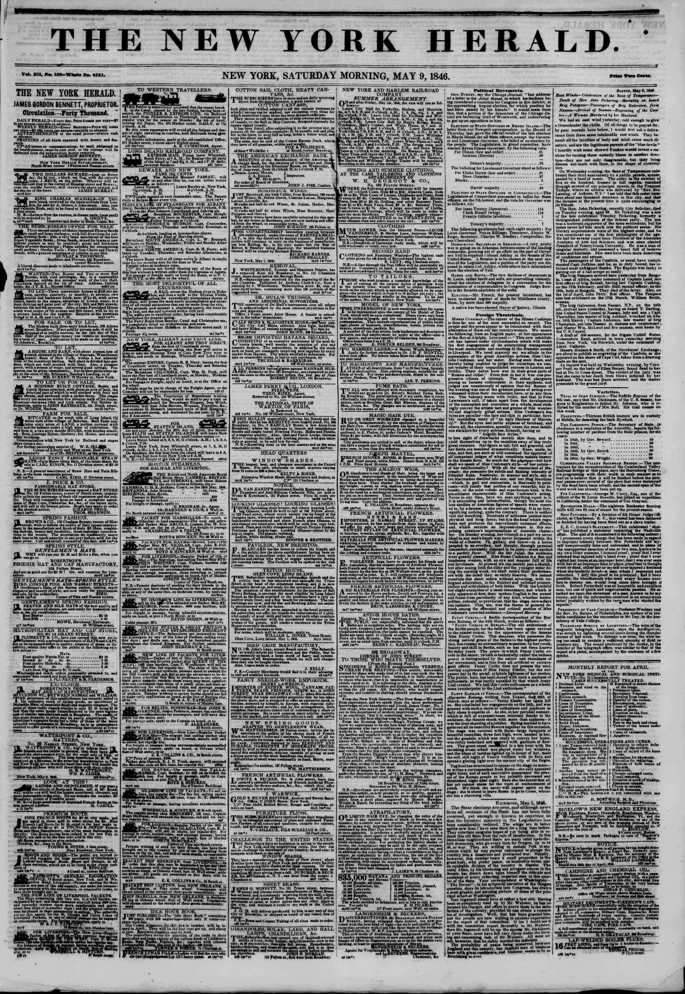 Newspaper of The New York Herald dated May 9, 1846 Page 1