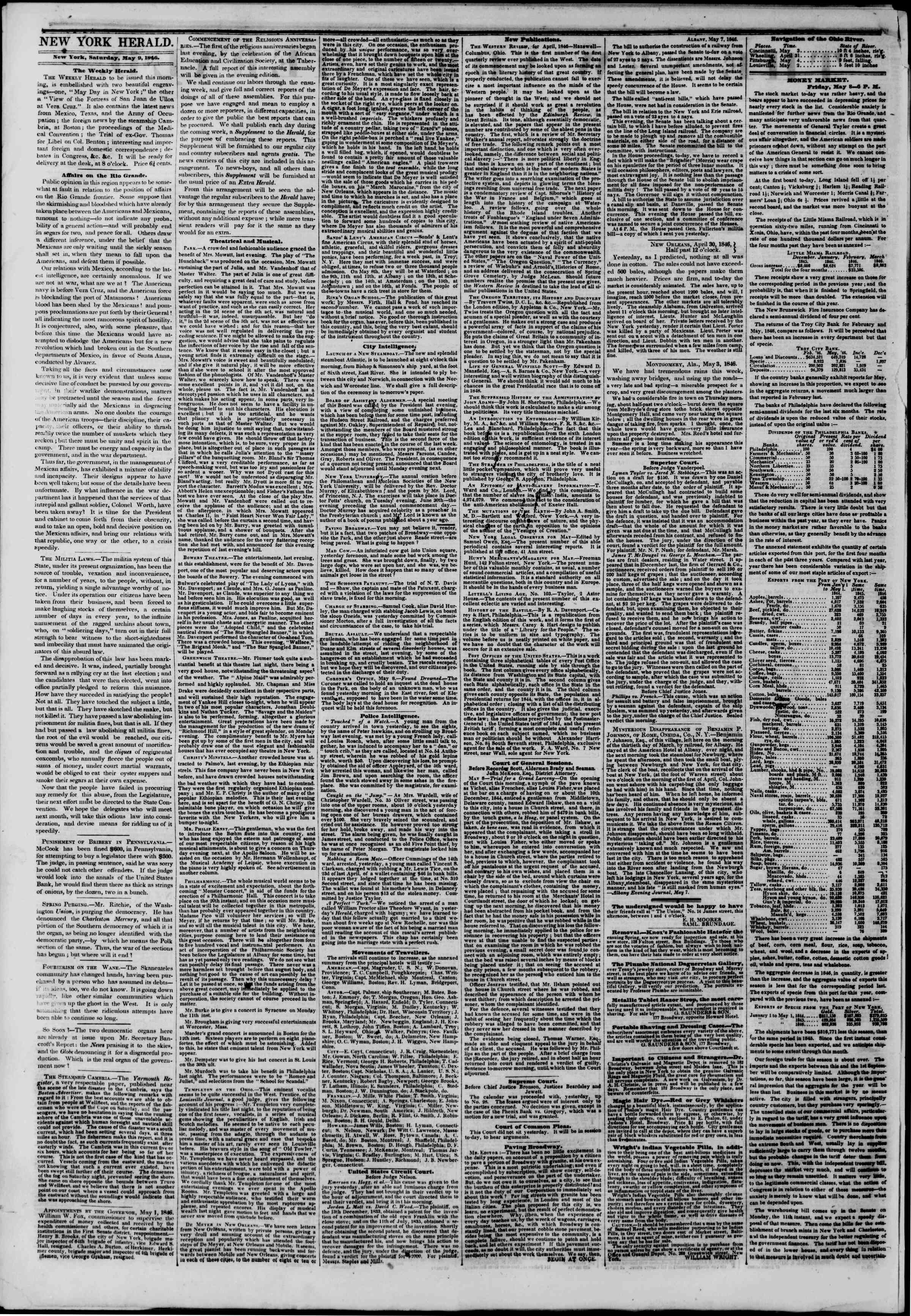 Newspaper of The New York Herald dated May 9, 1846 Page 2