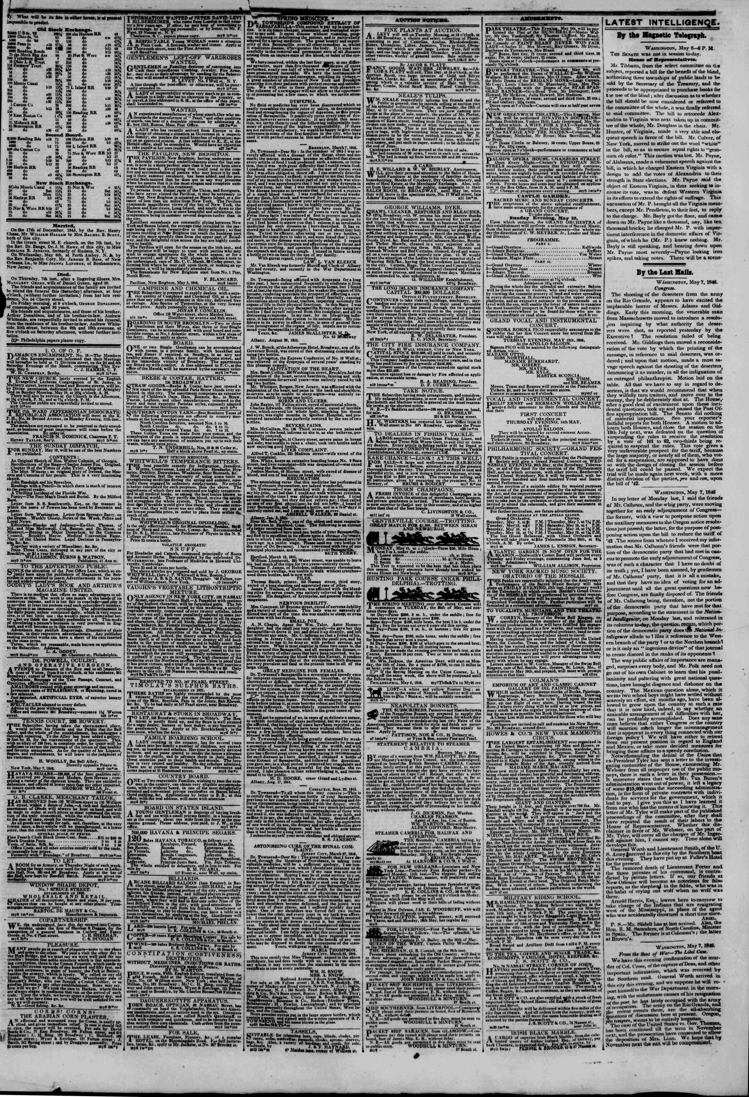 Newspaper of The New York Herald dated May 9, 1846 Page 3