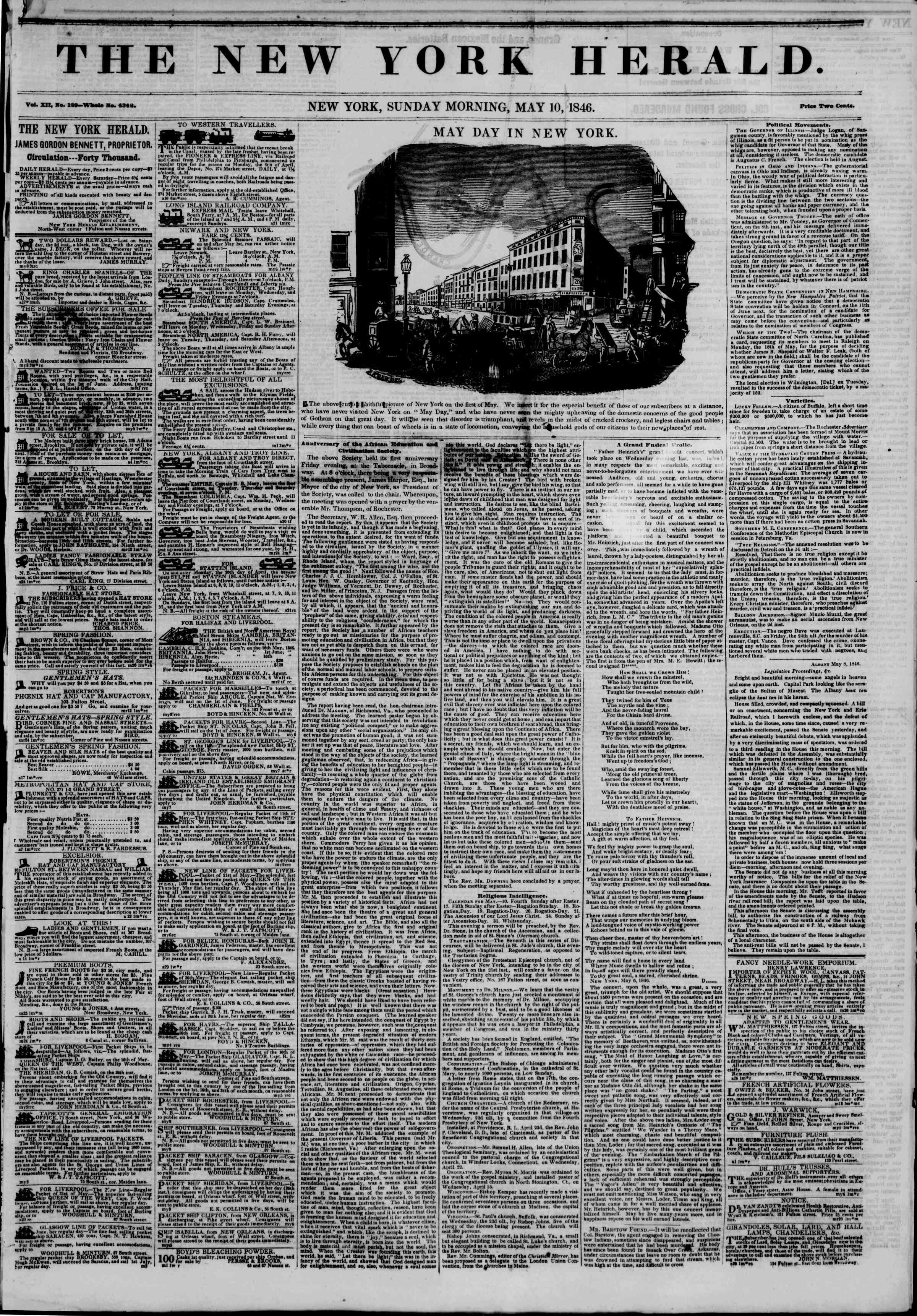 Newspaper of The New York Herald dated May 10, 1846 Page 1