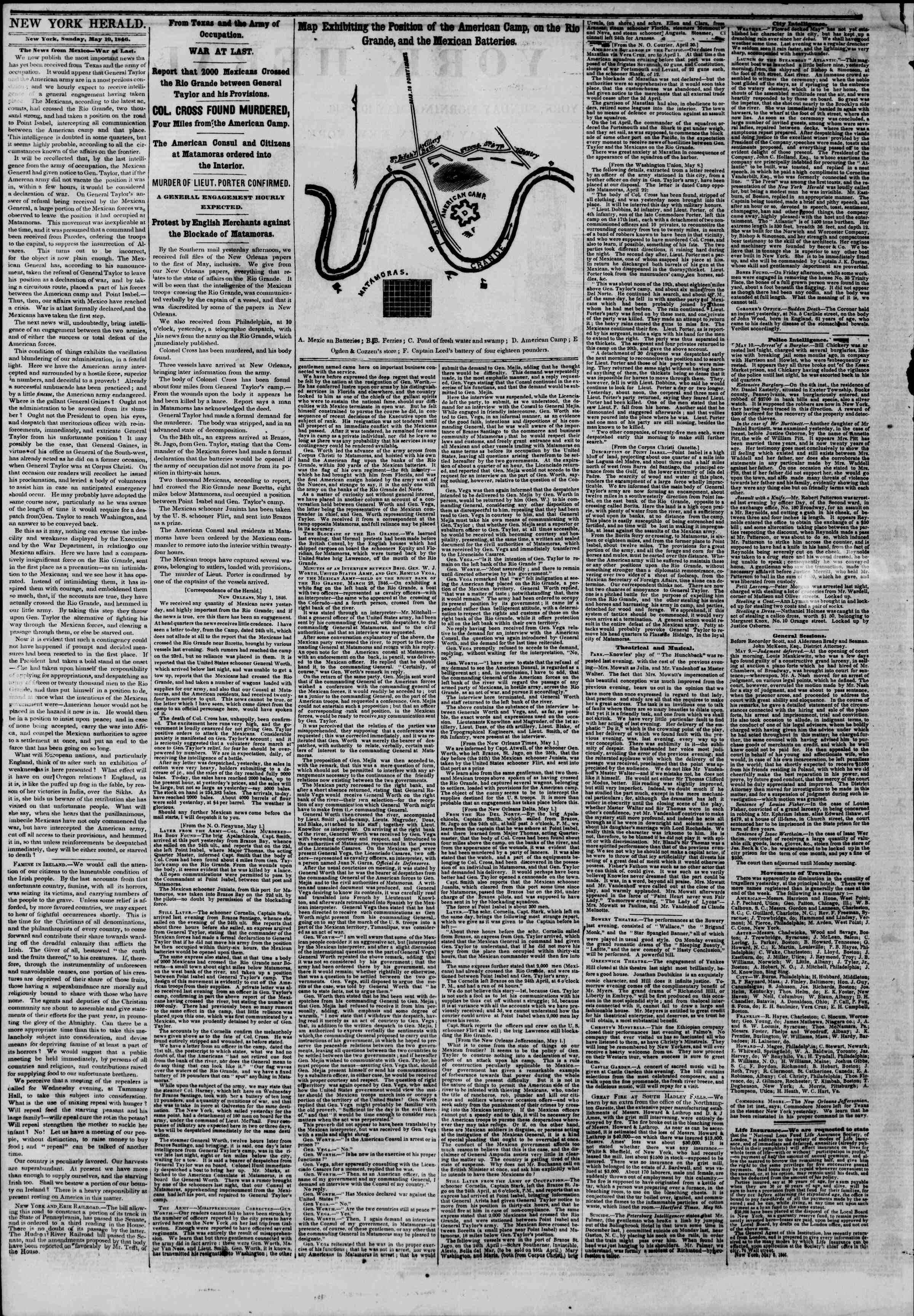 Newspaper of The New York Herald dated May 10, 1846 Page 2