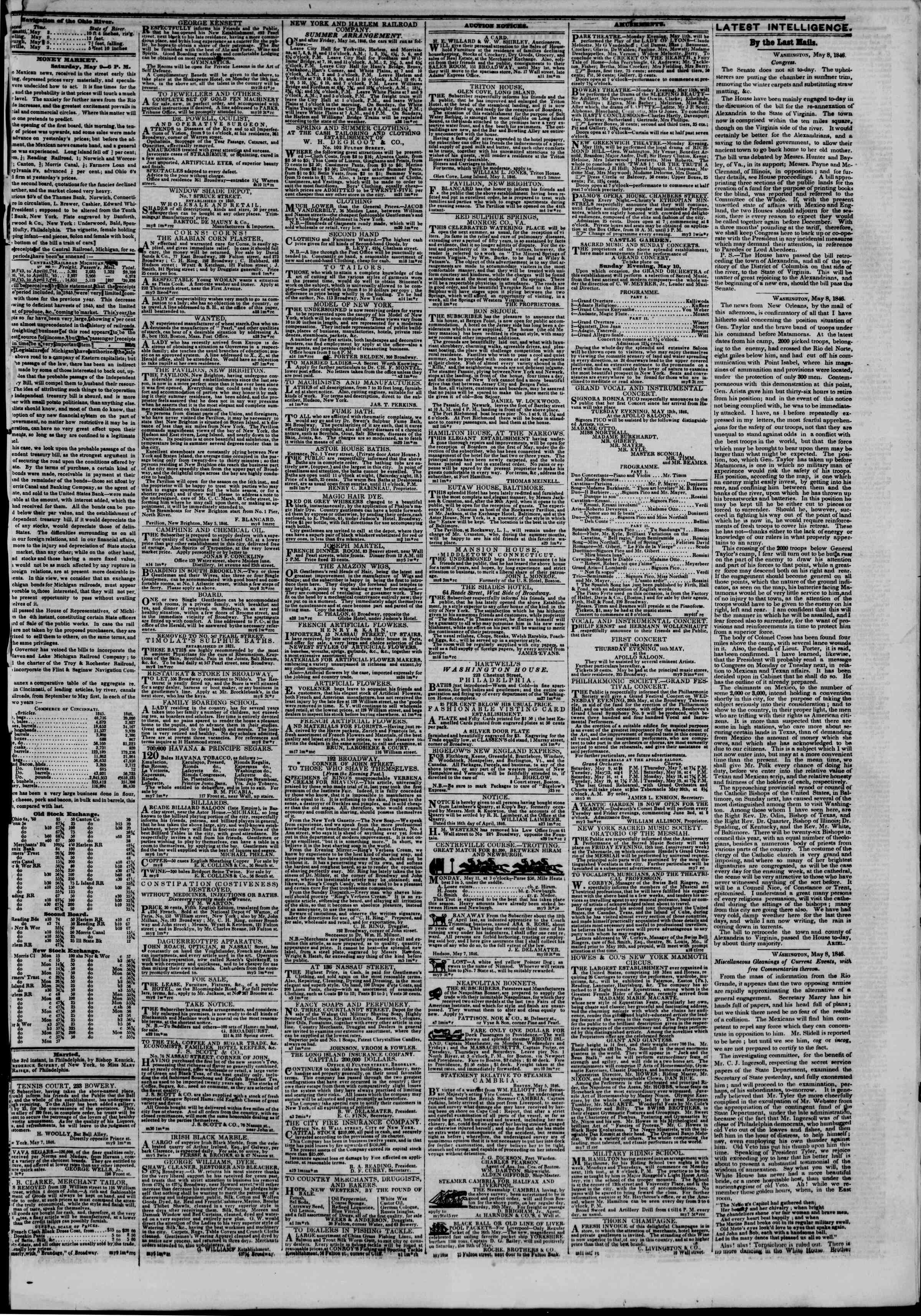 Newspaper of The New York Herald dated May 10, 1846 Page 3