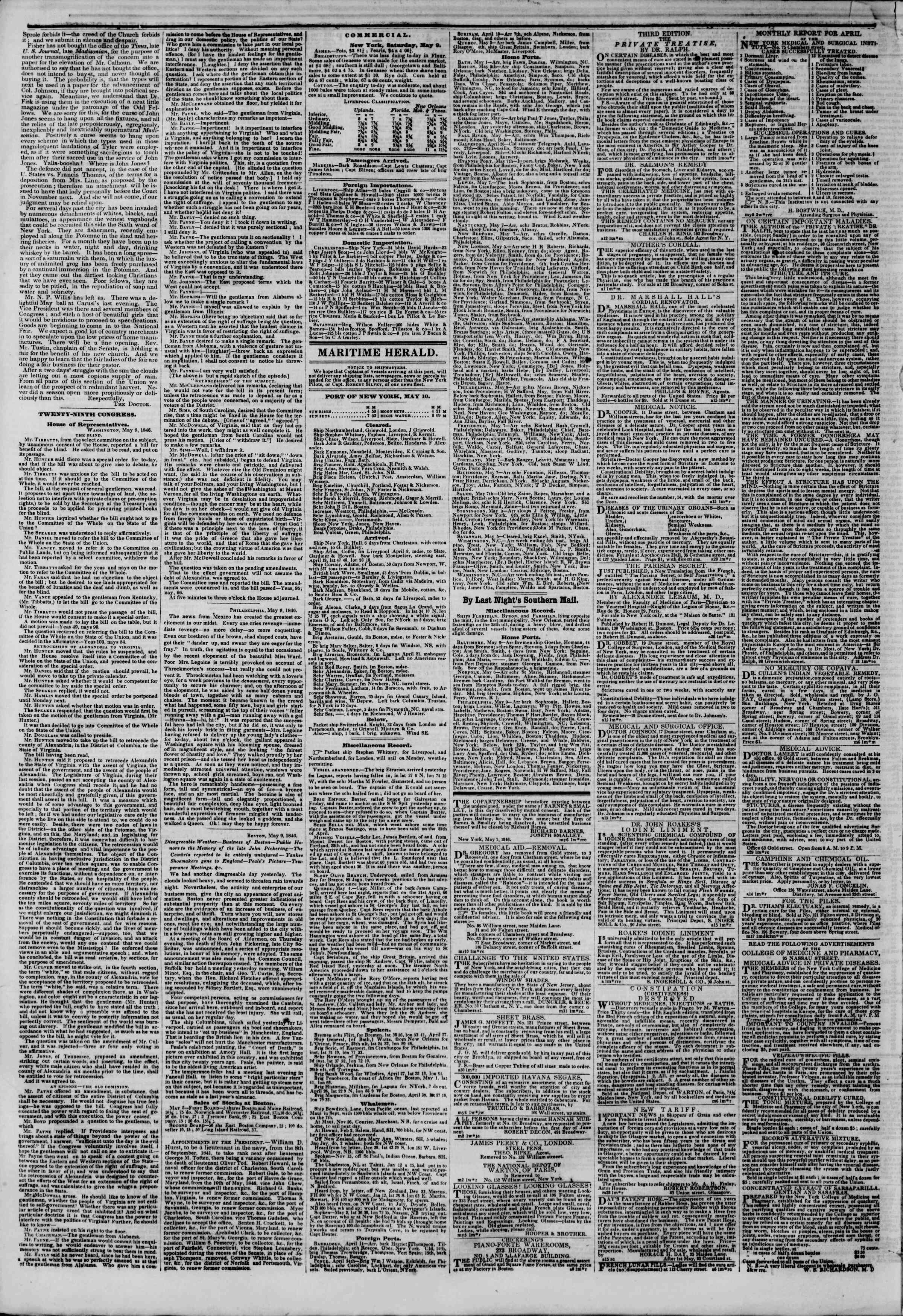 Newspaper of The New York Herald dated May 10, 1846 Page 4