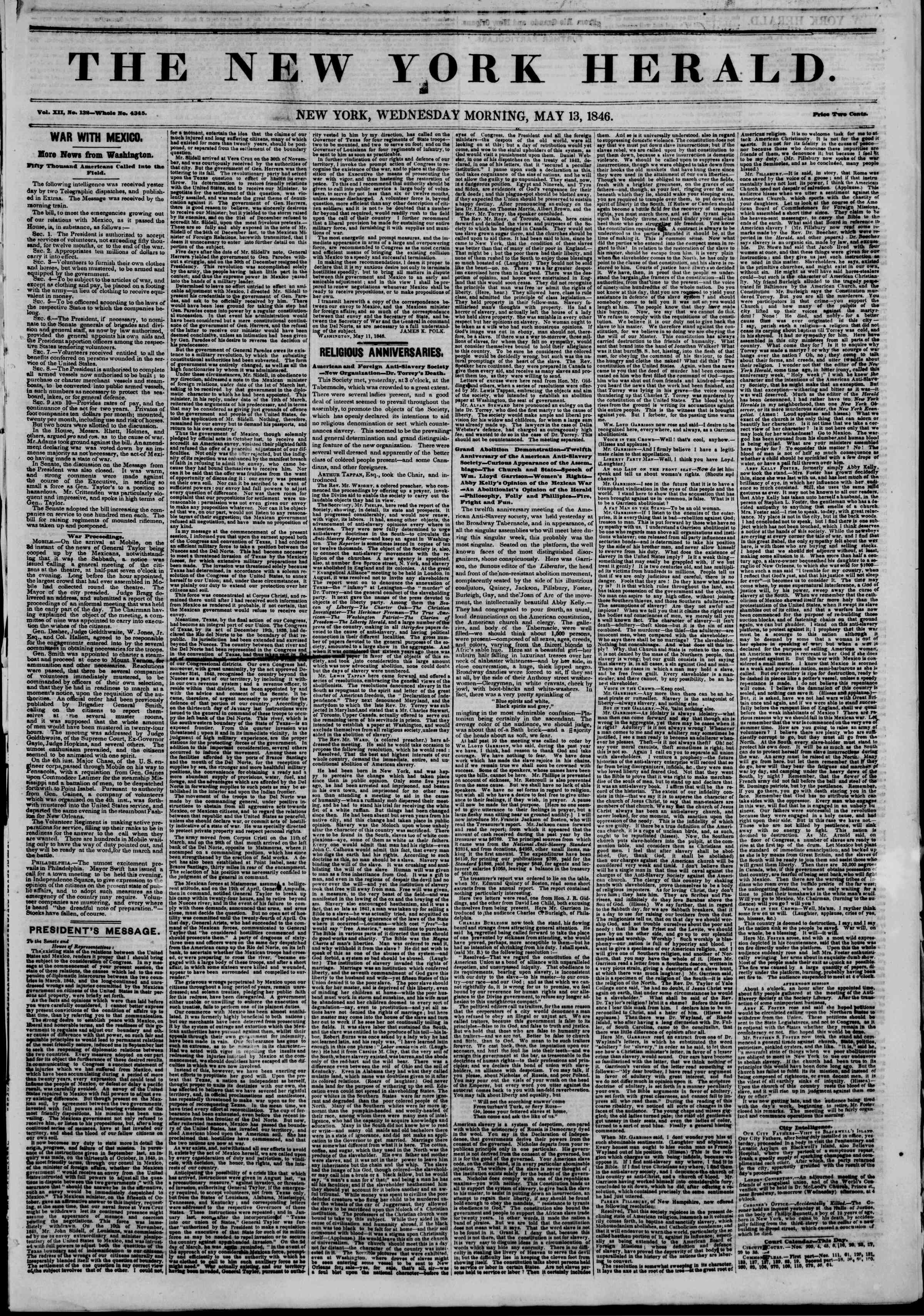 Newspaper of The New York Herald dated May 13, 1846 Page 1