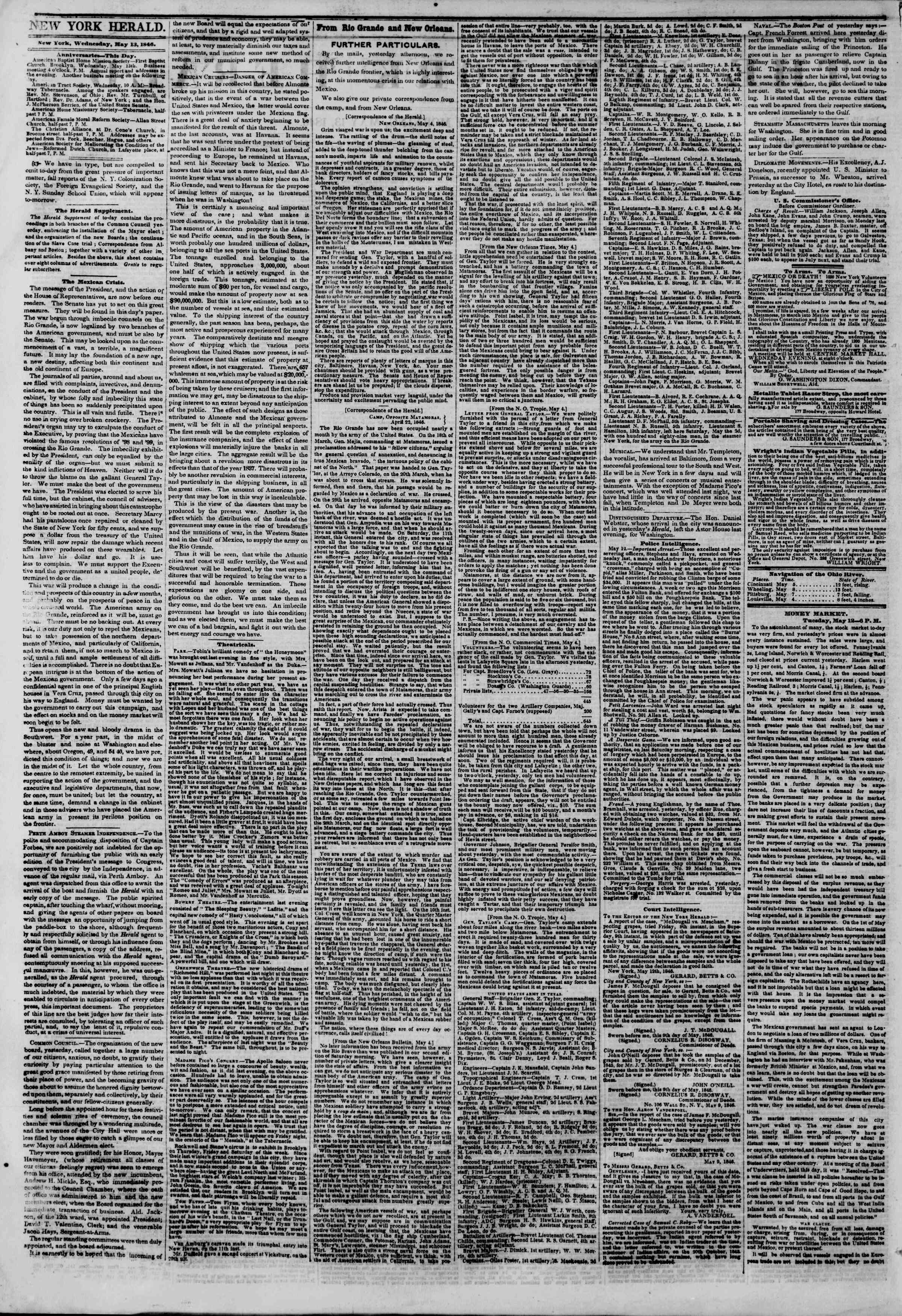 Newspaper of The New York Herald dated May 13, 1846 Page 2