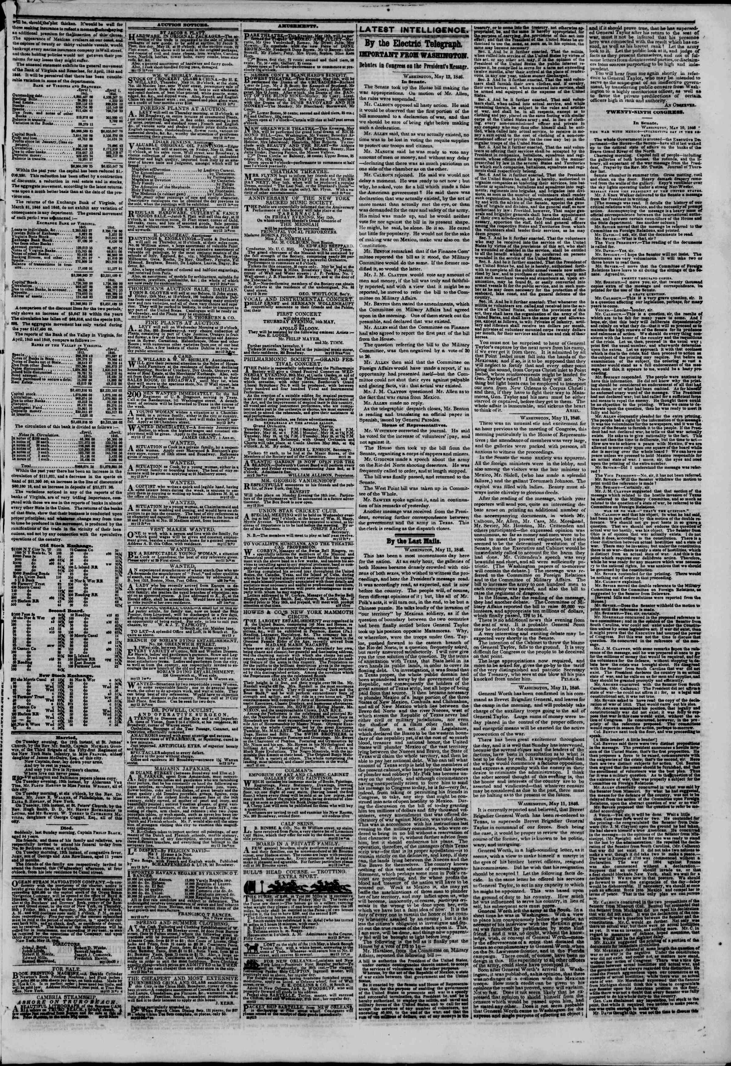Newspaper of The New York Herald dated May 13, 1846 Page 3