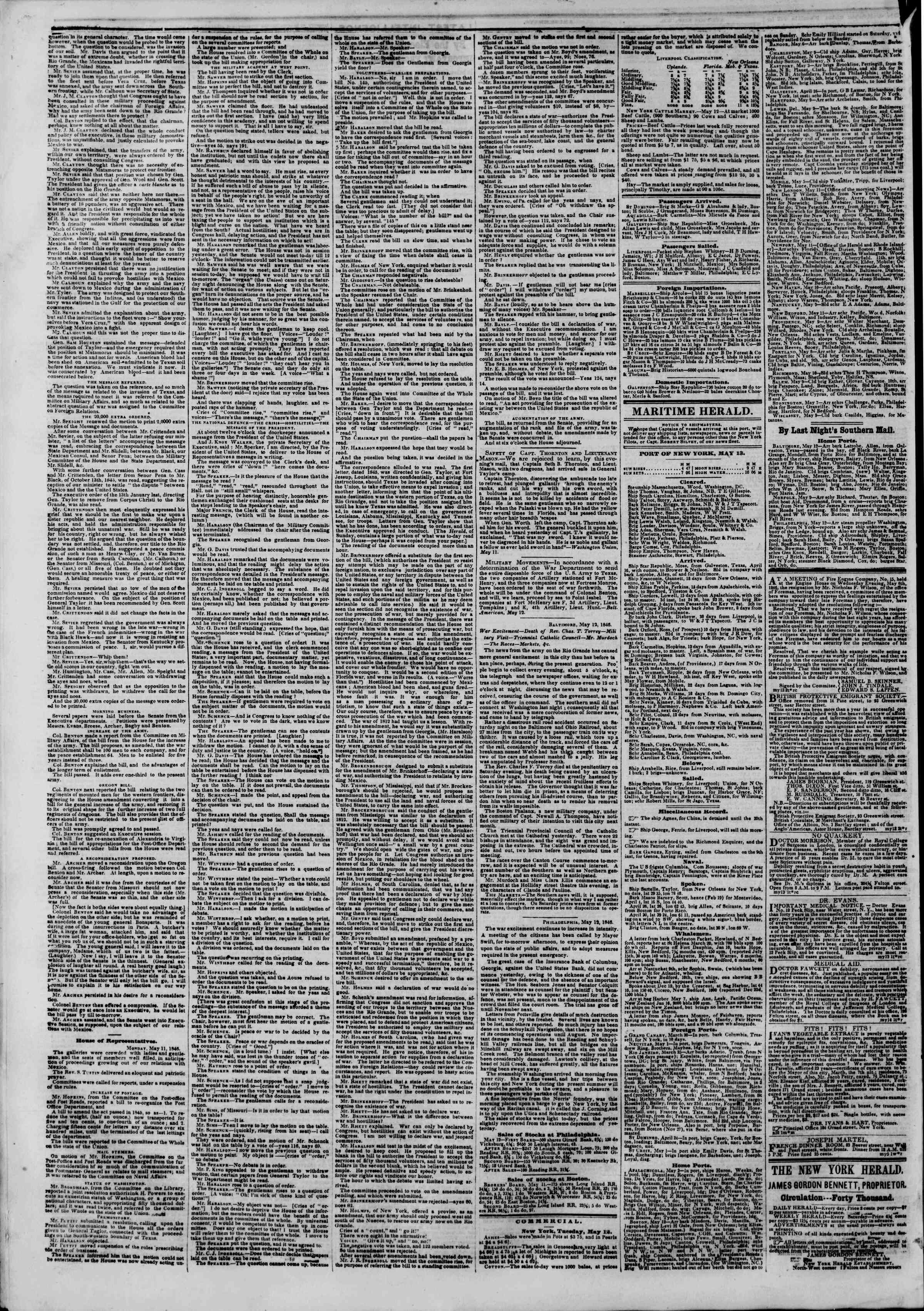 Newspaper of The New York Herald dated May 13, 1846 Page 4