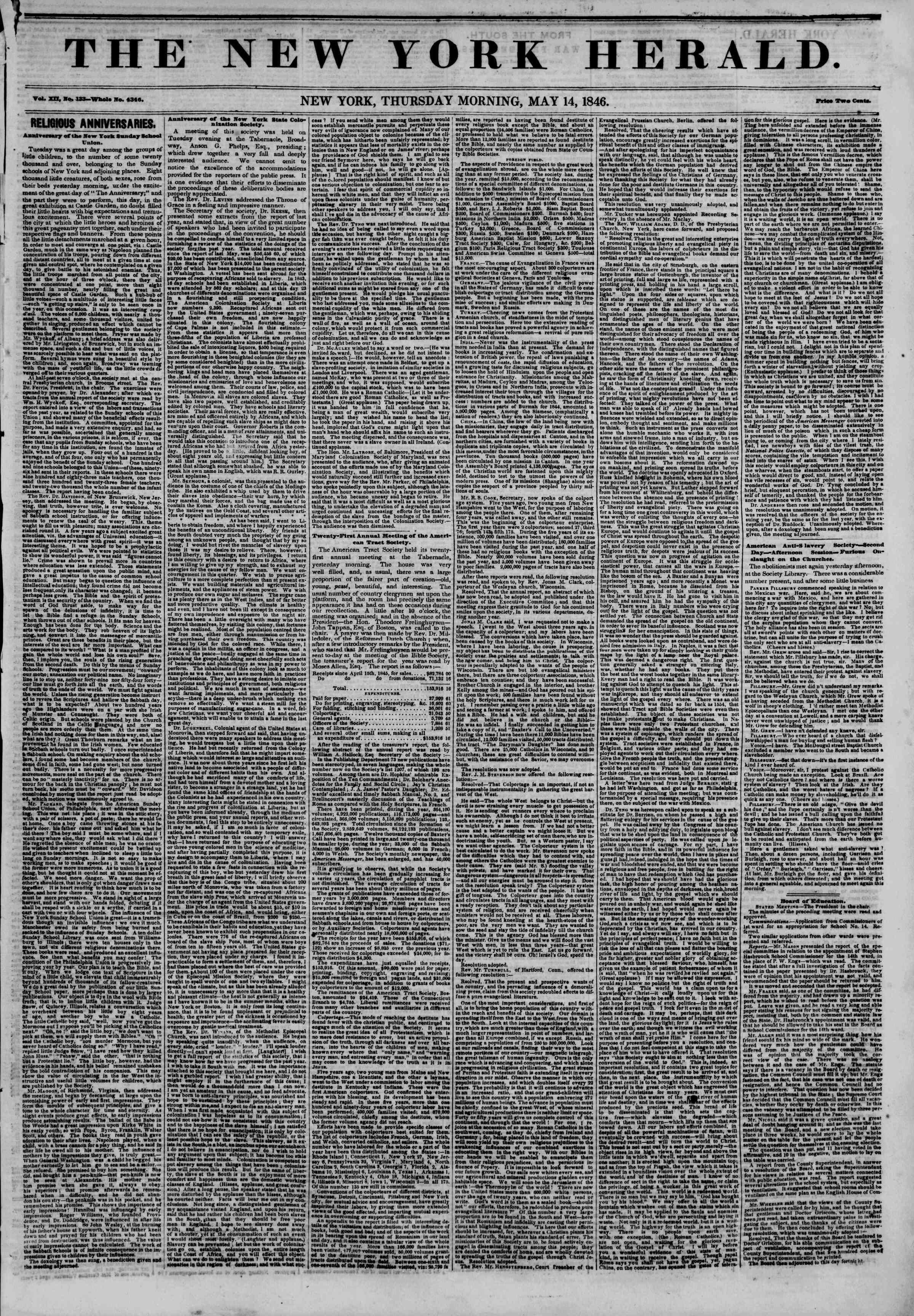 Newspaper of The New York Herald dated May 14, 1846 Page 1