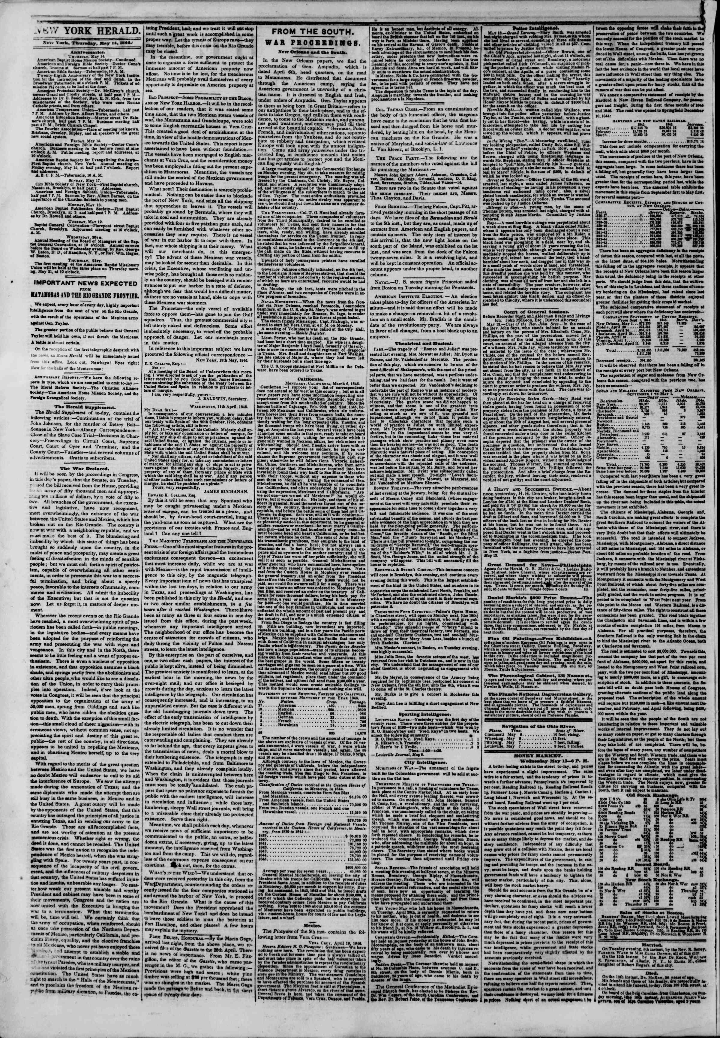 Newspaper of The New York Herald dated May 14, 1846 Page 2