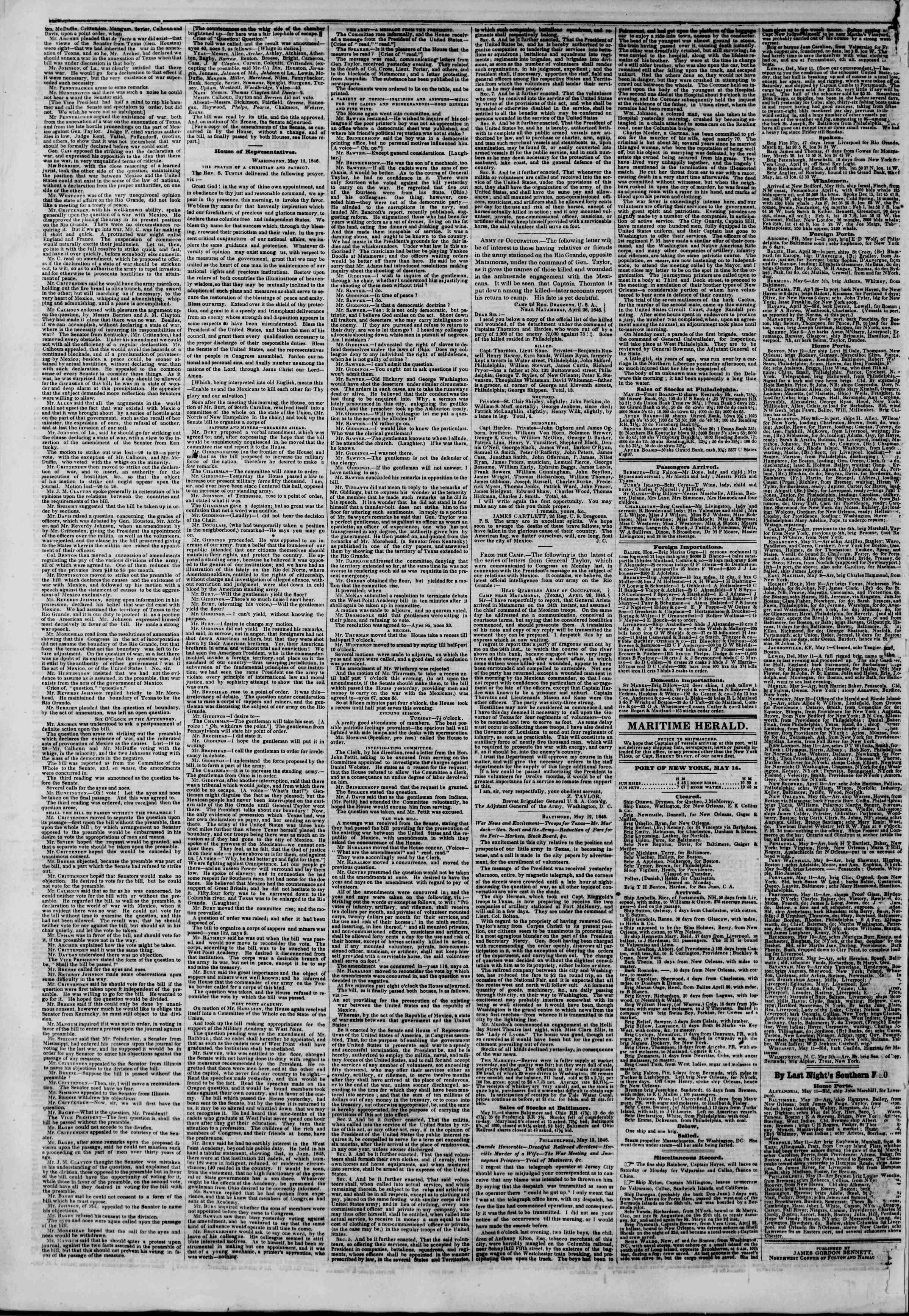 Newspaper of The New York Herald dated May 14, 1846 Page 4
