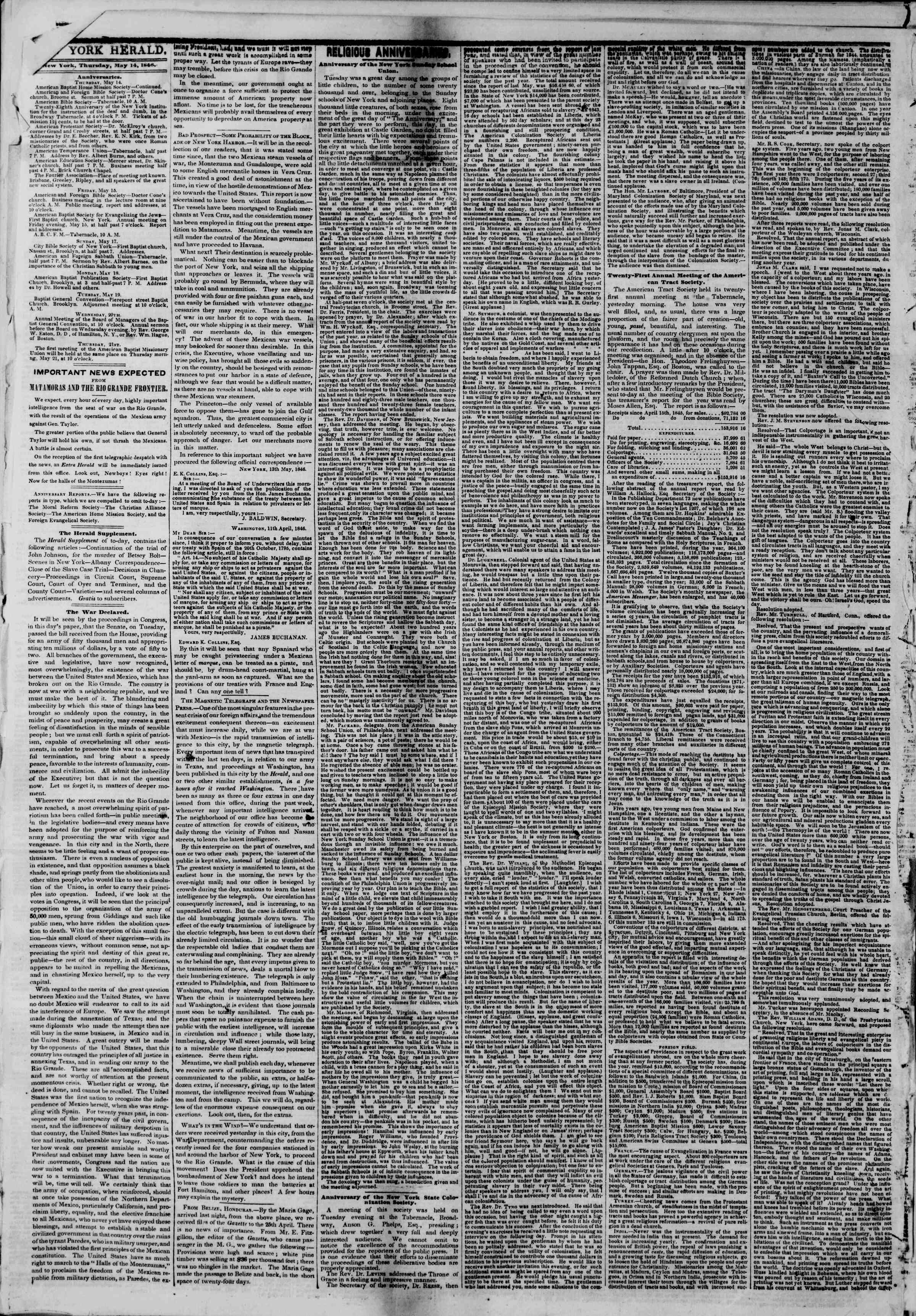 Newspaper of The New York Herald dated May 14, 1846 Page 6