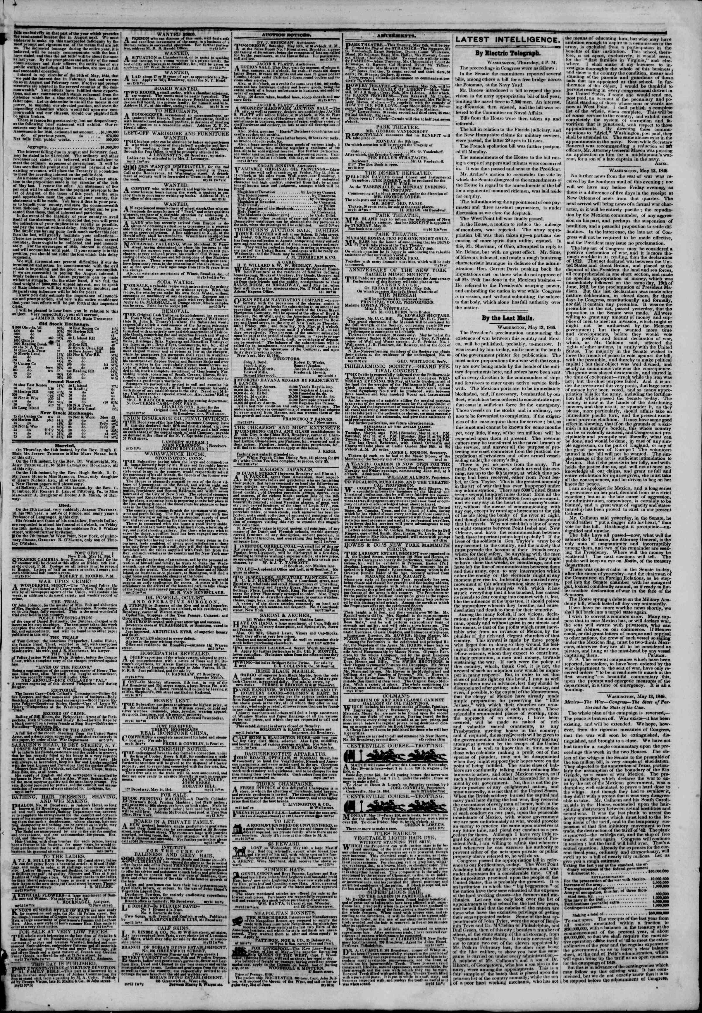 Newspaper of The New York Herald dated 15 Mayıs 1846 Page 3