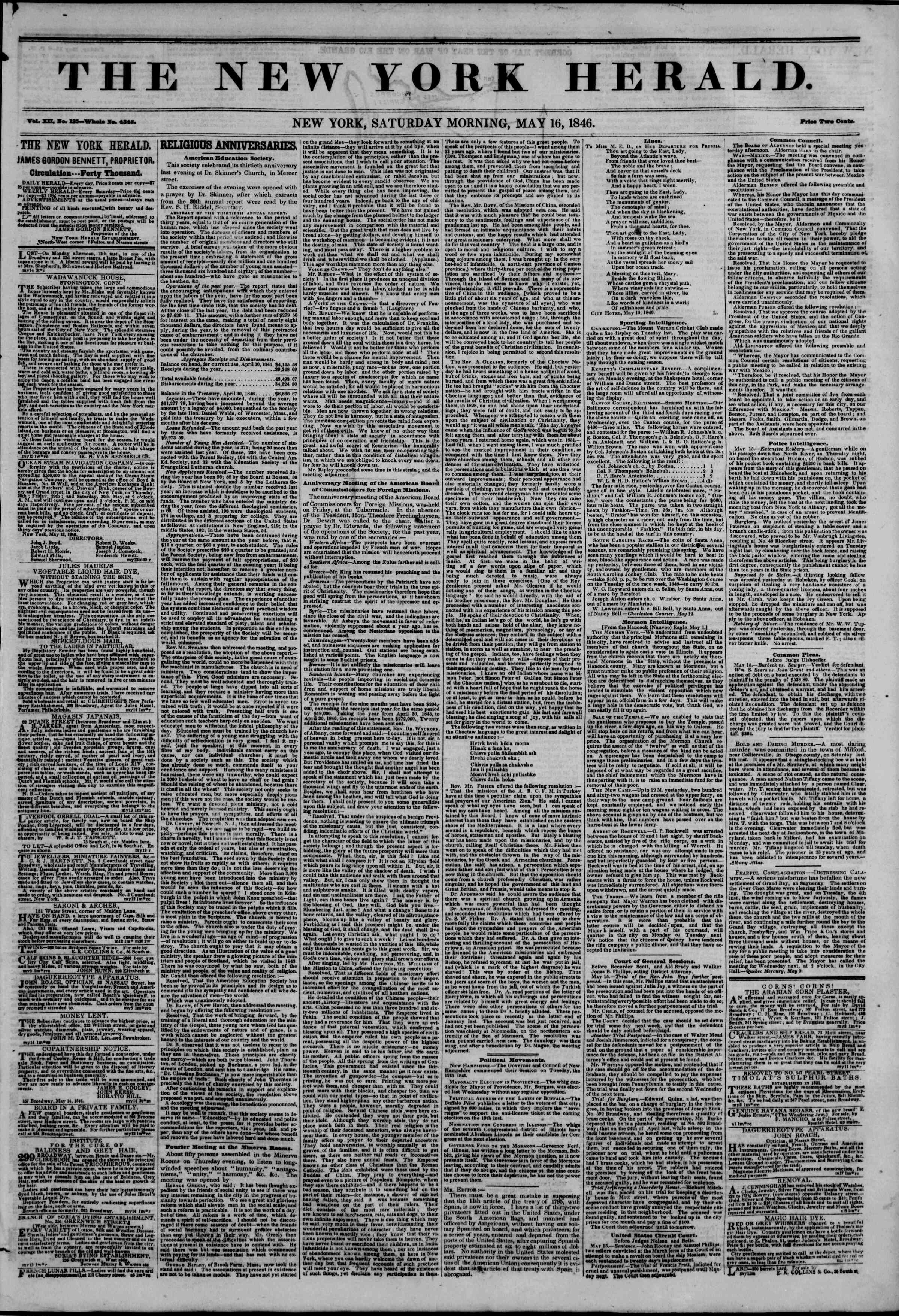 Newspaper of The New York Herald dated May 16, 1846 Page 1