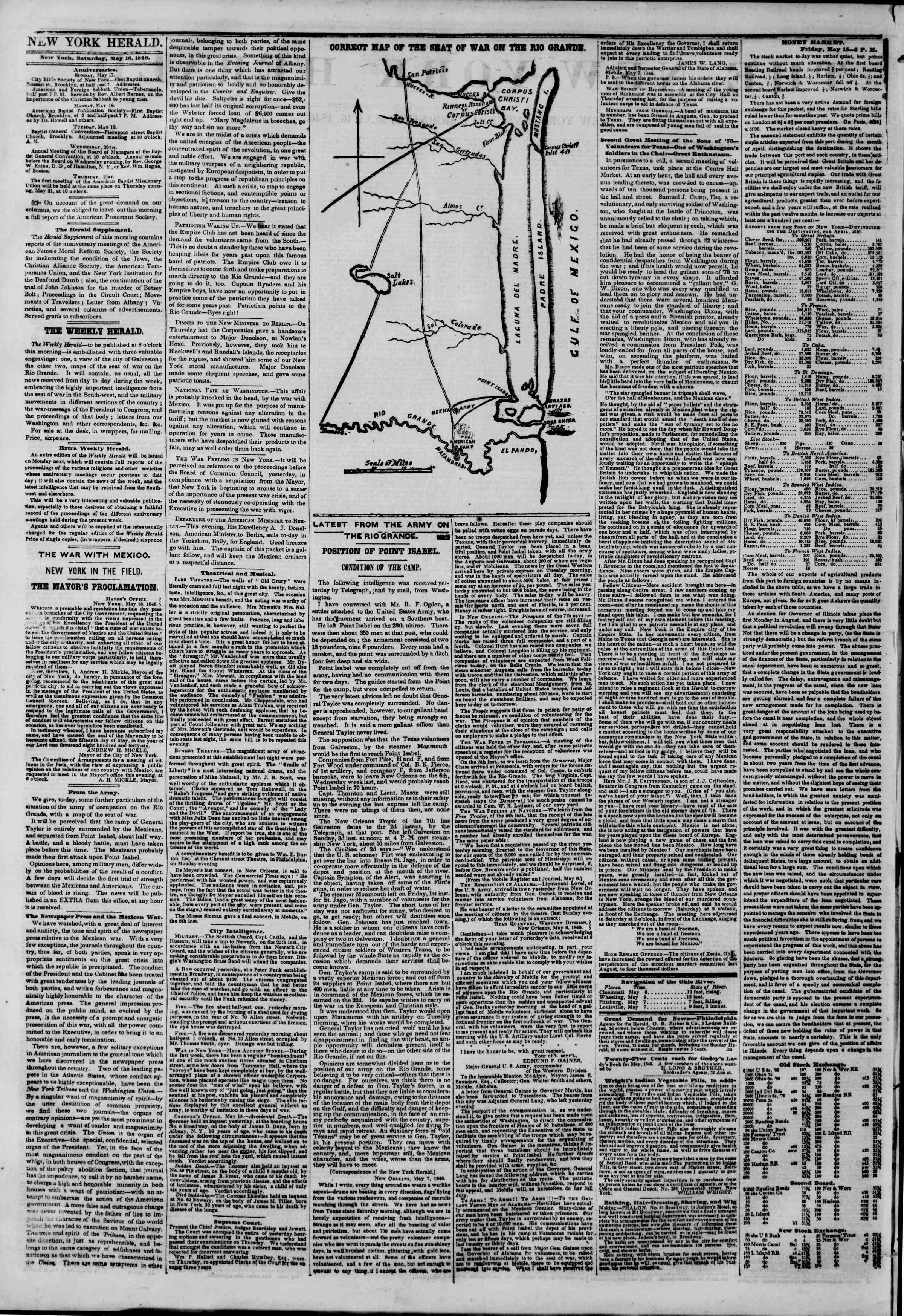Newspaper of The New York Herald dated May 16, 1846 Page 2