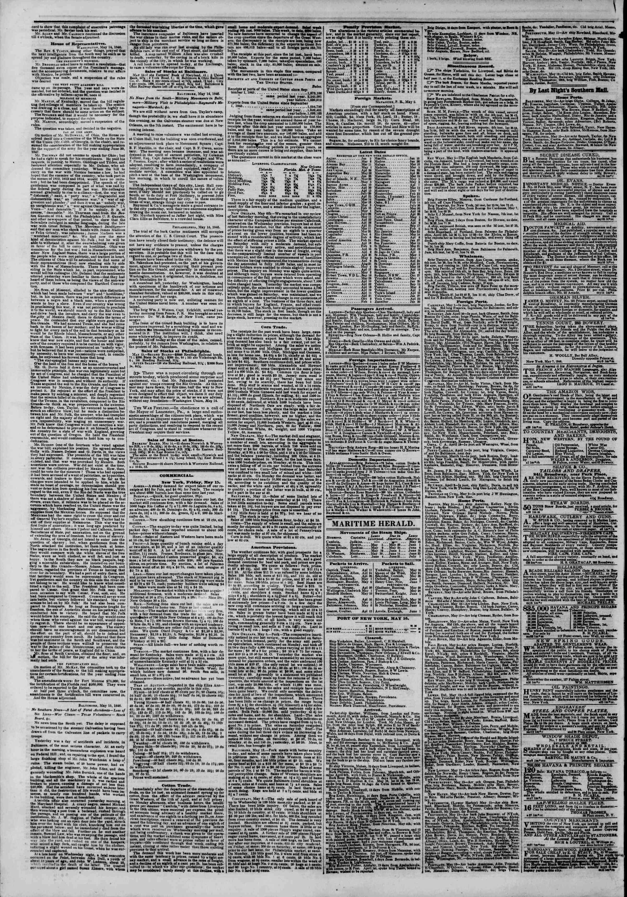 Newspaper of The New York Herald dated May 16, 1846 Page 4