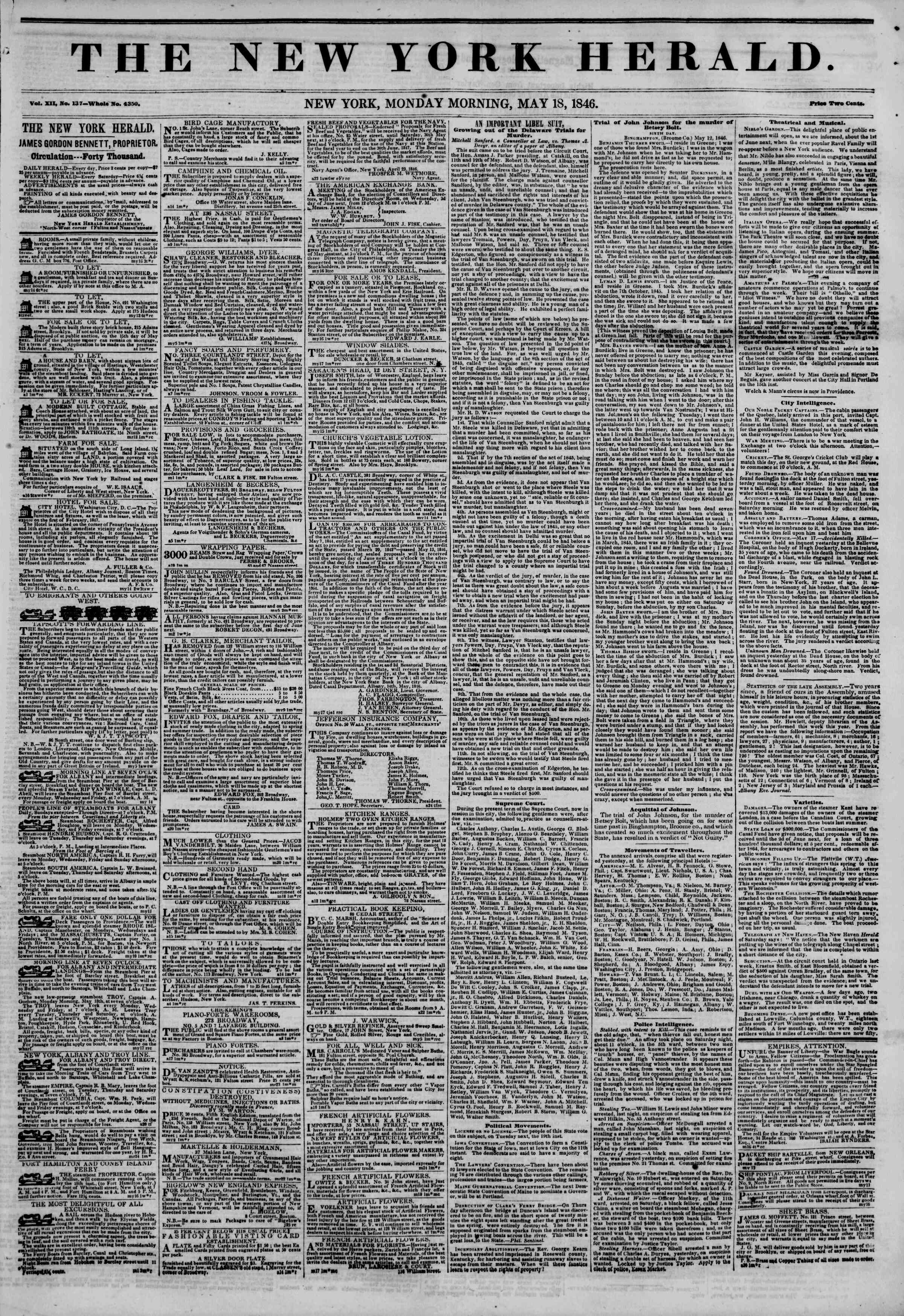 Newspaper of The New York Herald dated May 18, 1846 Page 1
