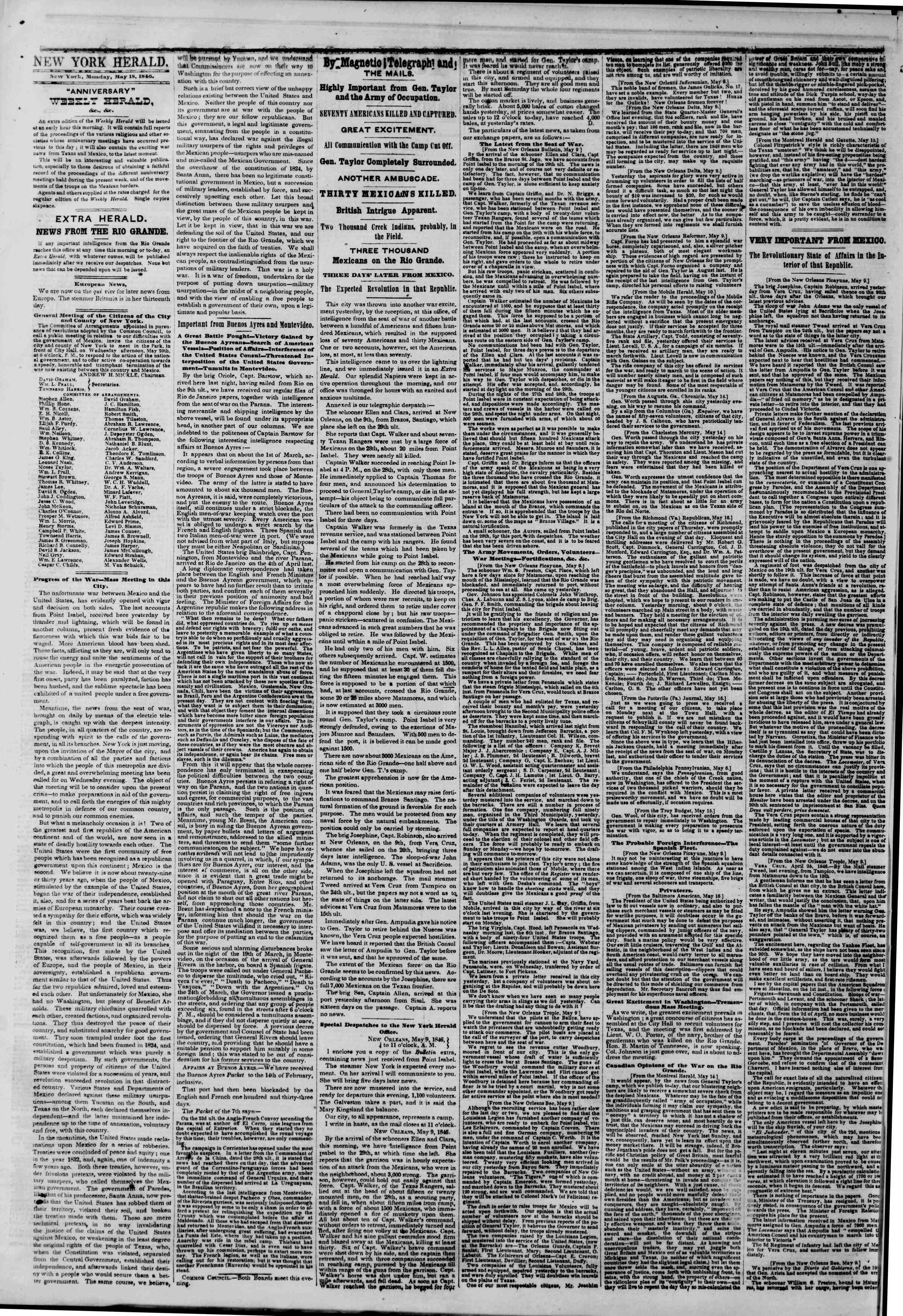 Newspaper of The New York Herald dated May 18, 1846 Page 2