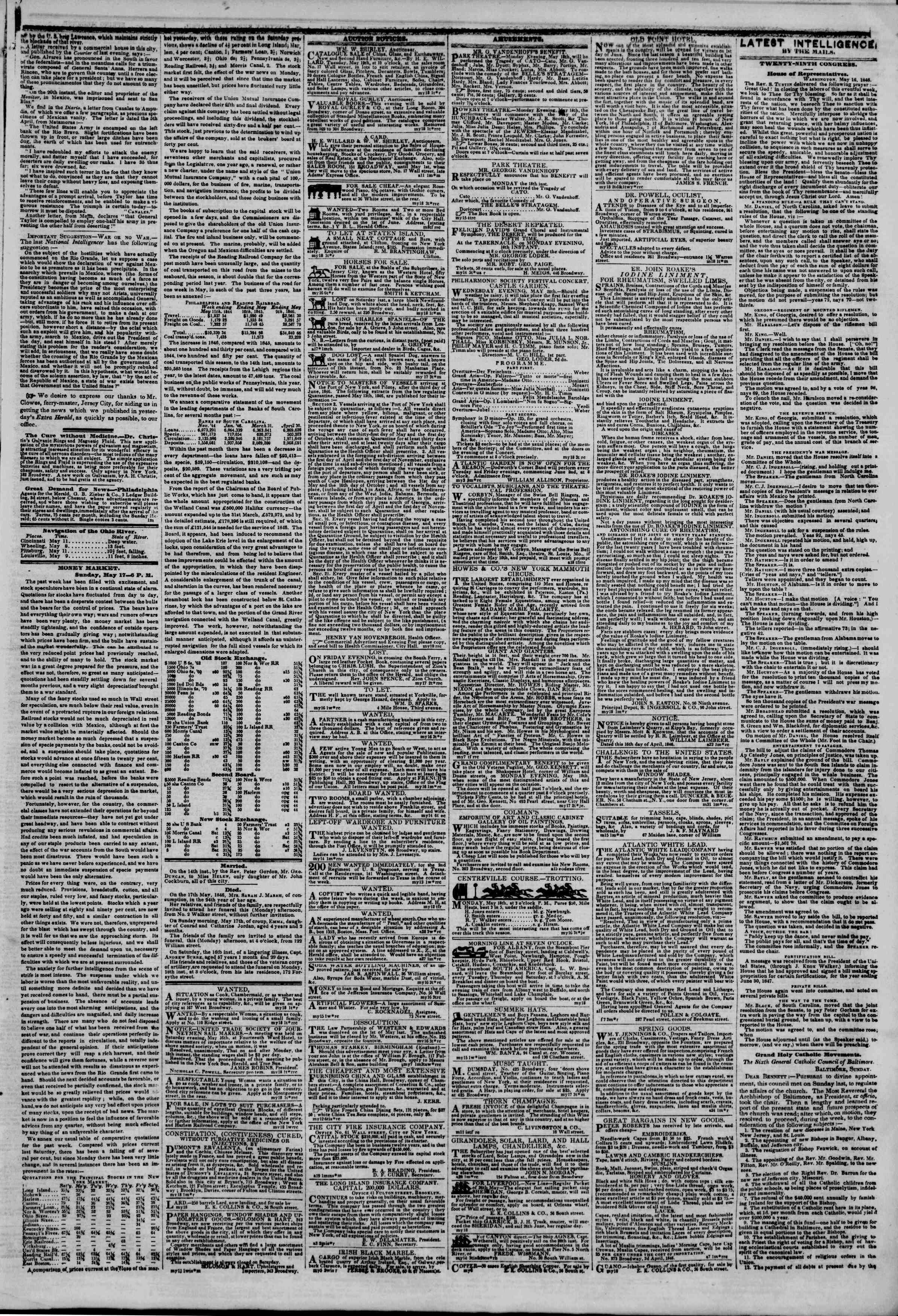 Newspaper of The New York Herald dated May 18, 1846 Page 3