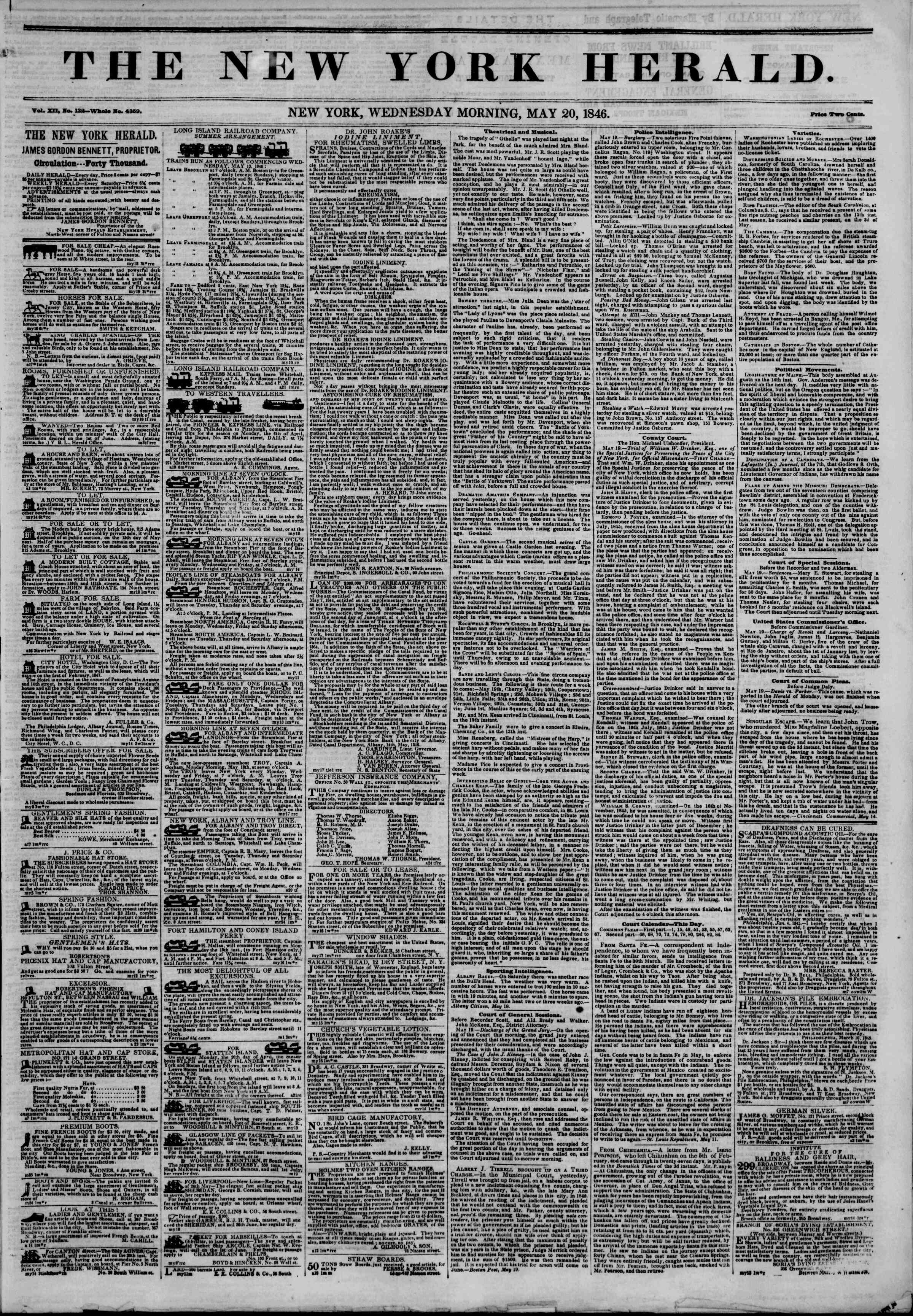 Newspaper of The New York Herald dated May 20, 1846 Page 1