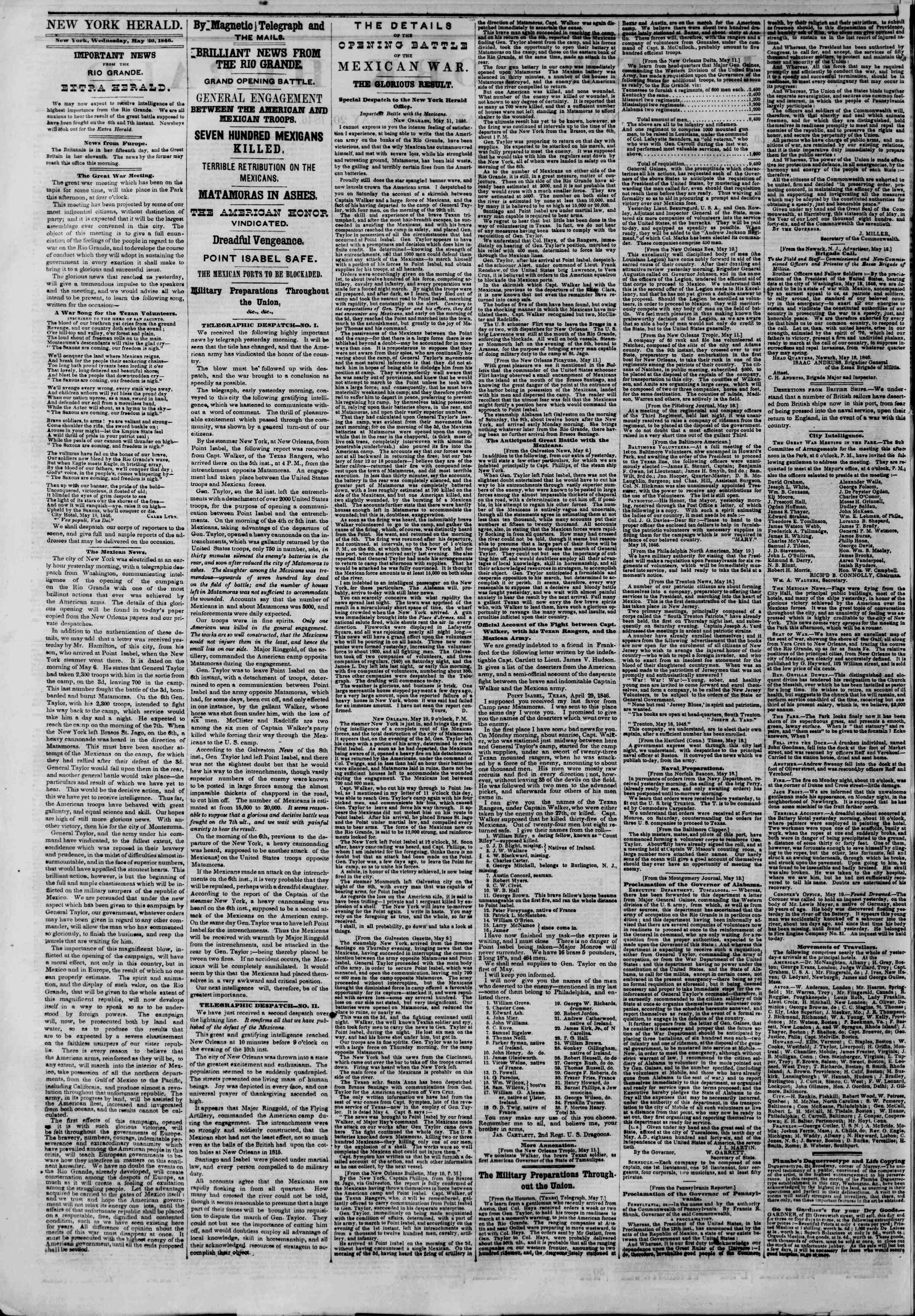 Newspaper of The New York Herald dated May 20, 1846 Page 2