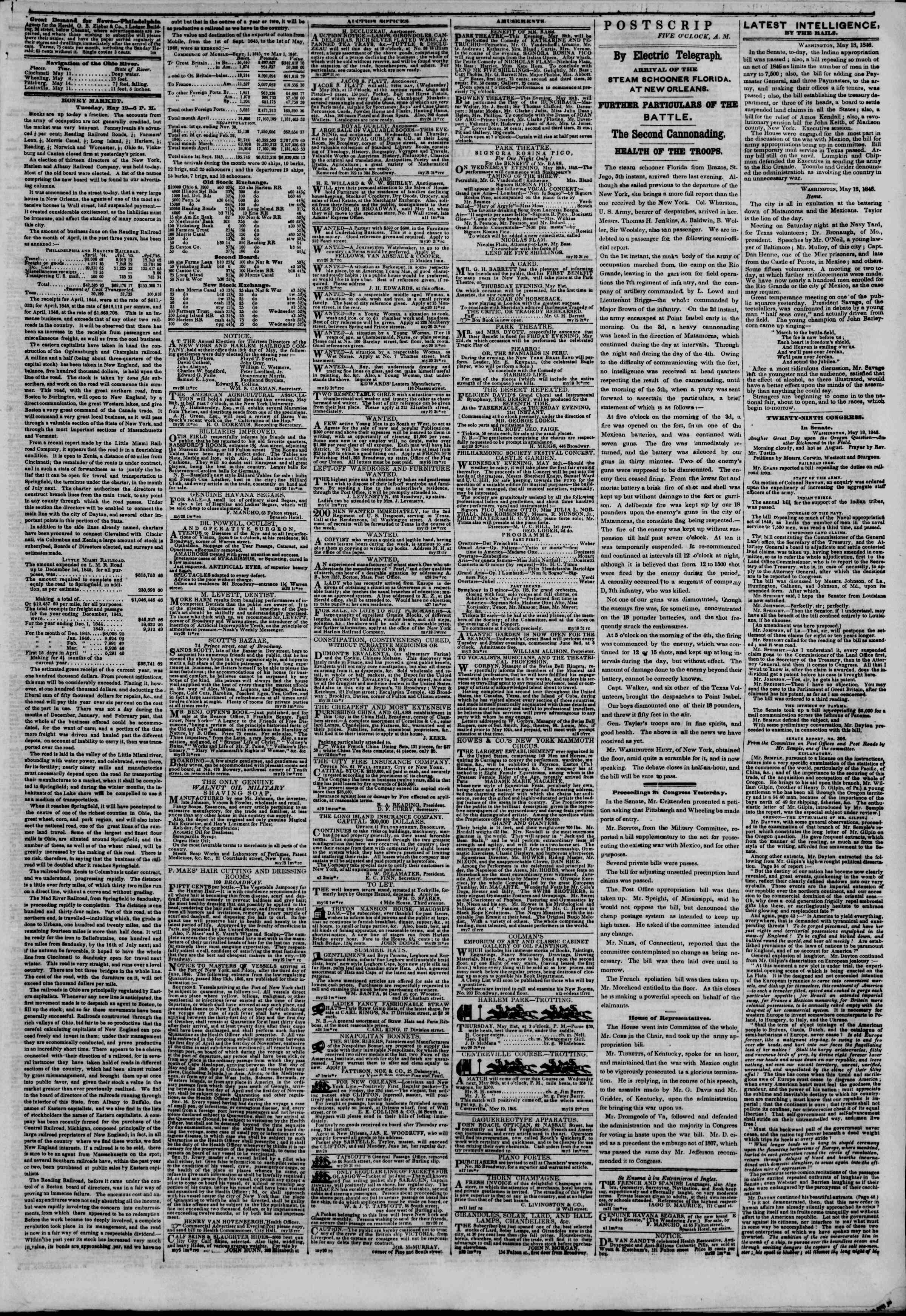Newspaper of The New York Herald dated May 20, 1846 Page 3