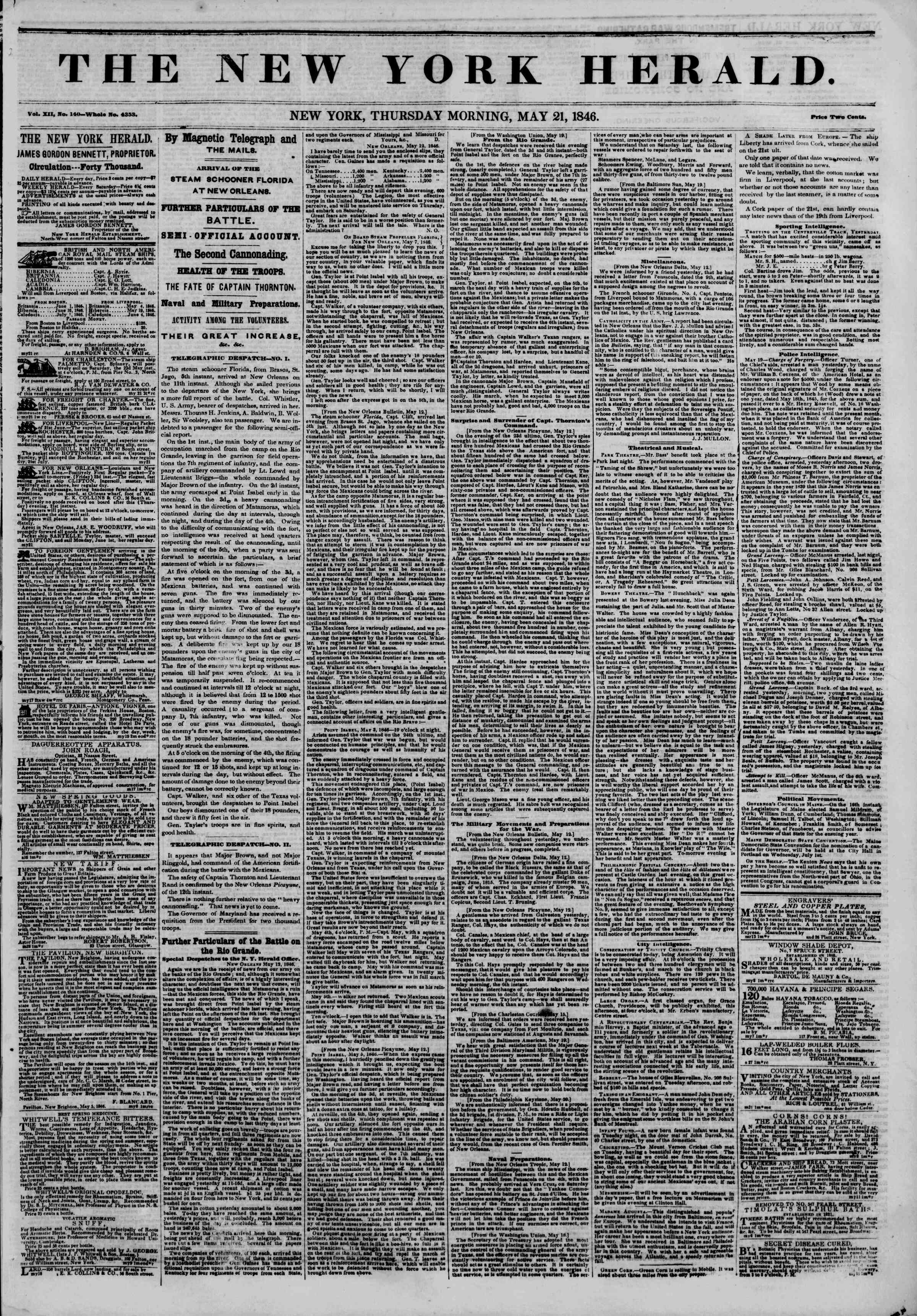 Newspaper of The New York Herald dated May 21, 1846 Page 1