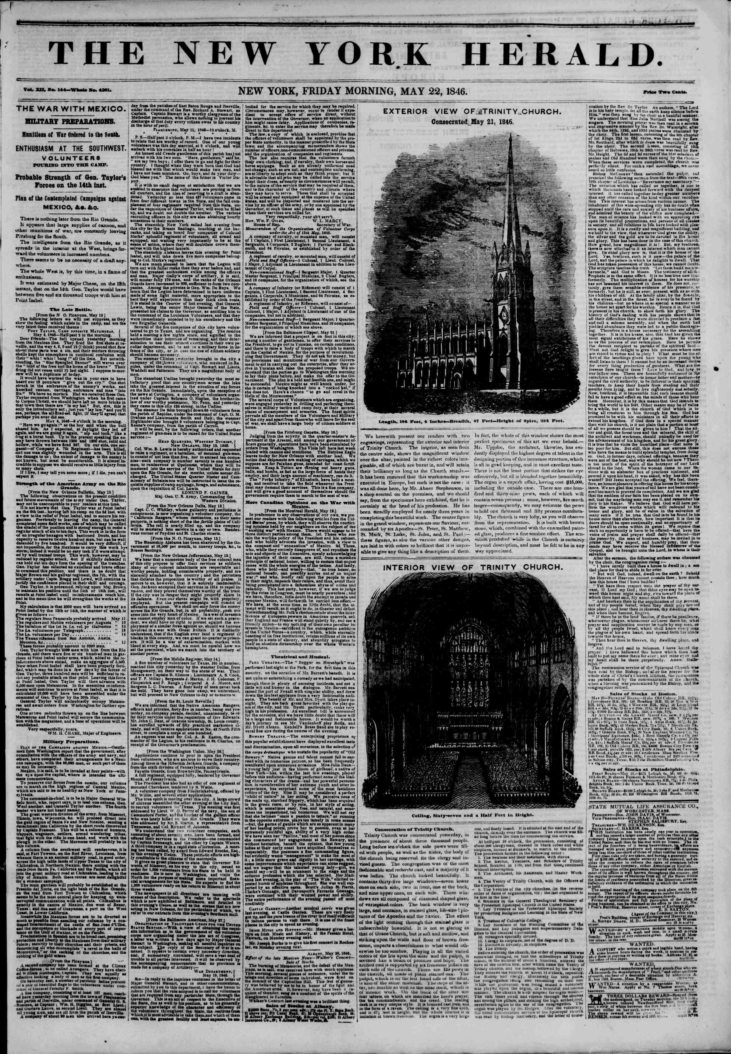 Newspaper of The New York Herald dated May 22, 1846 Page 1