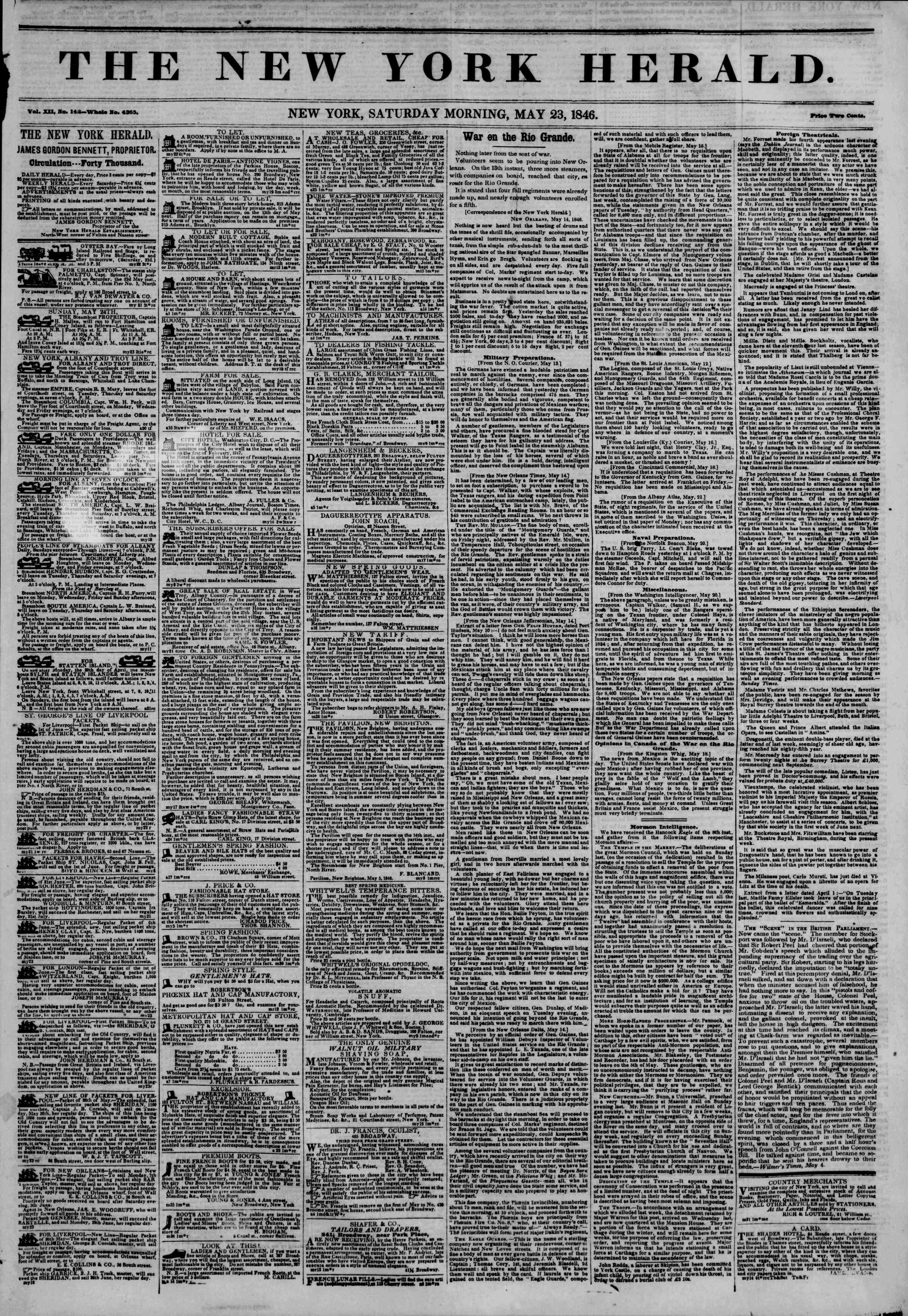 Newspaper of The New York Herald dated May 23, 1846 Page 1