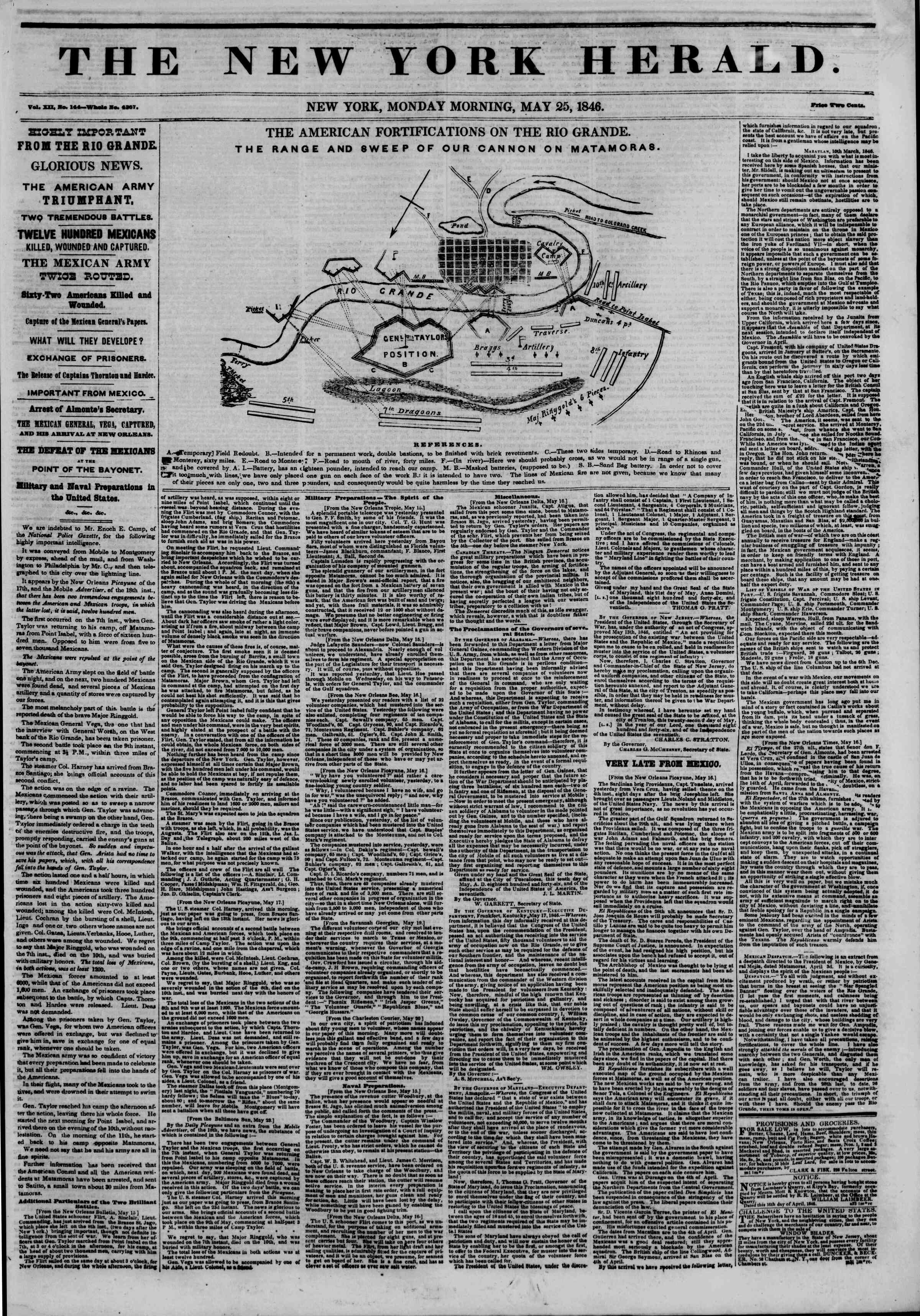 Newspaper of The New York Herald dated May 25, 1846 Page 1
