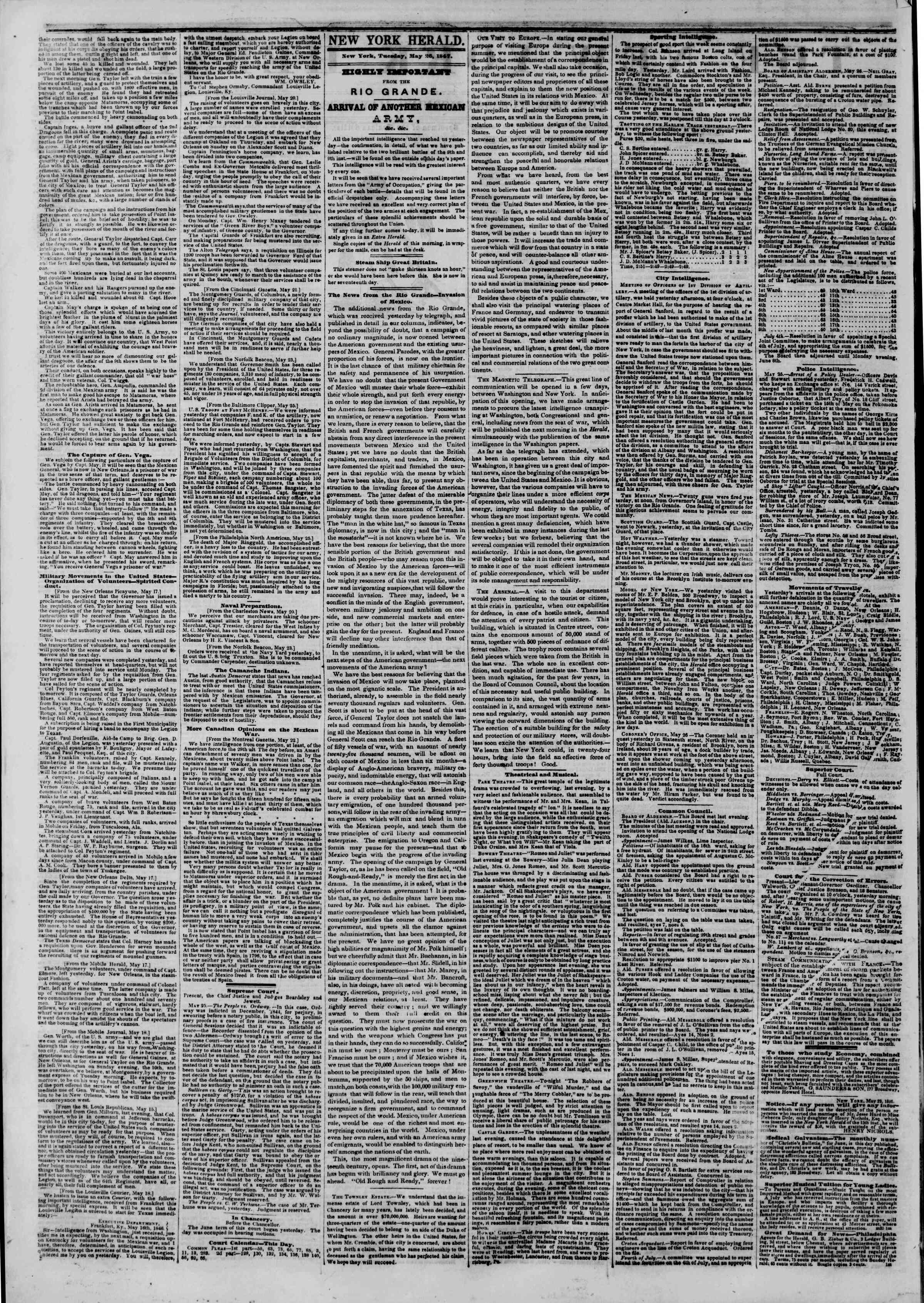 Newspaper of The New York Herald dated May 26, 1846 Page 2
