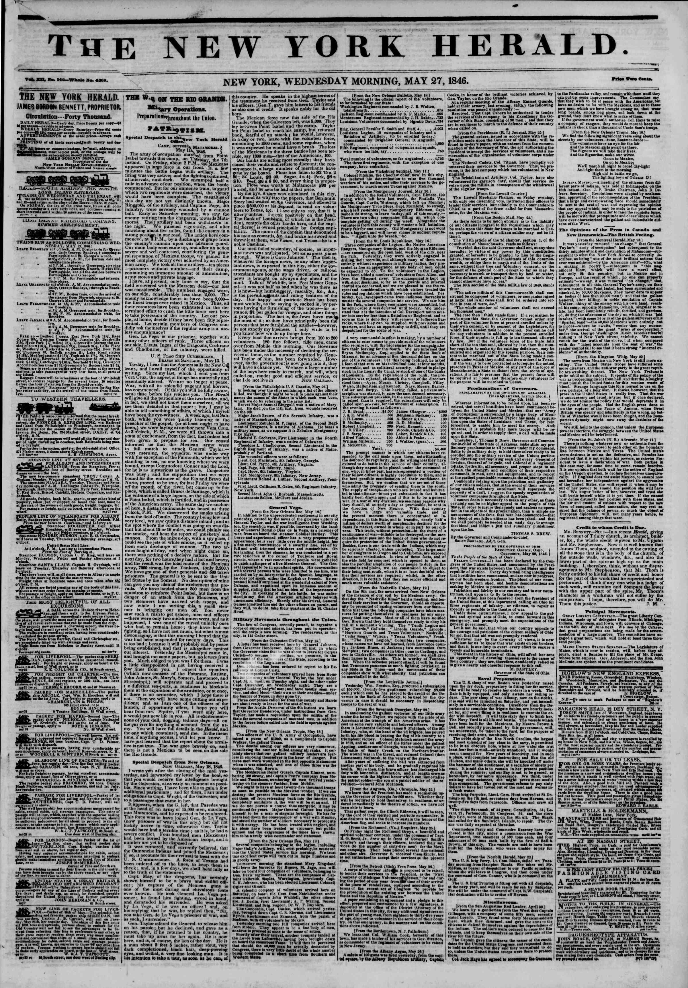 May 27, 1846 tarihli The New York Herald Gazetesi Sayfa 1
