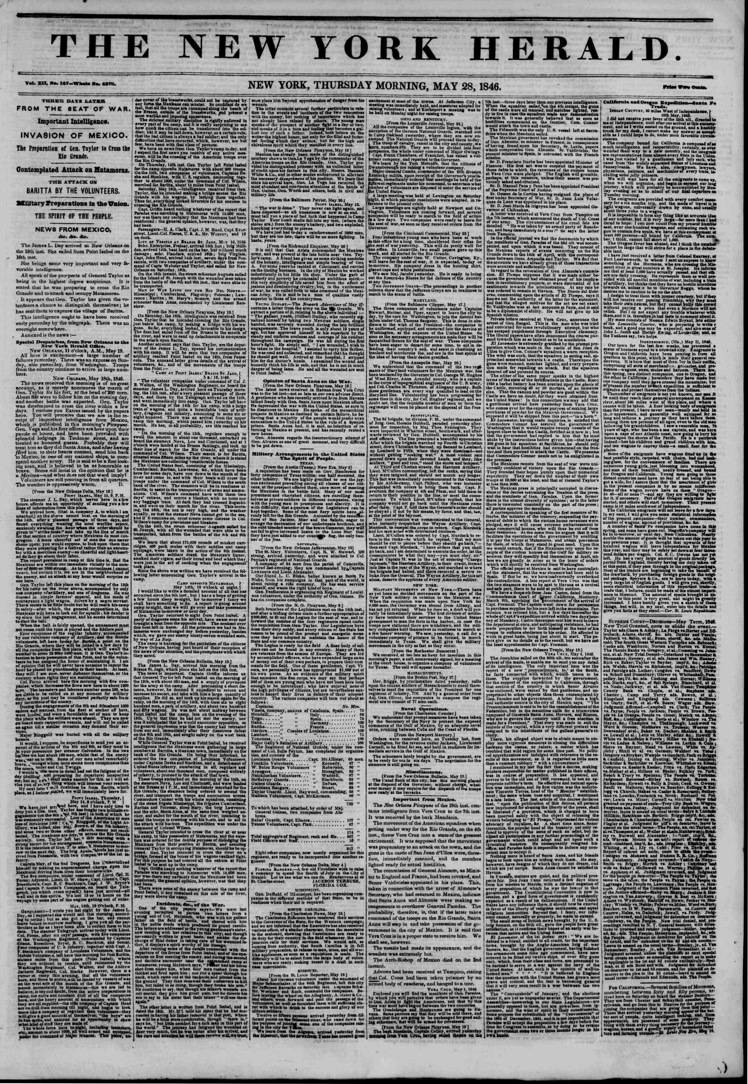 28 Mayıs 1846 tarihli The New York Herald Gazetesi Sayfa 1