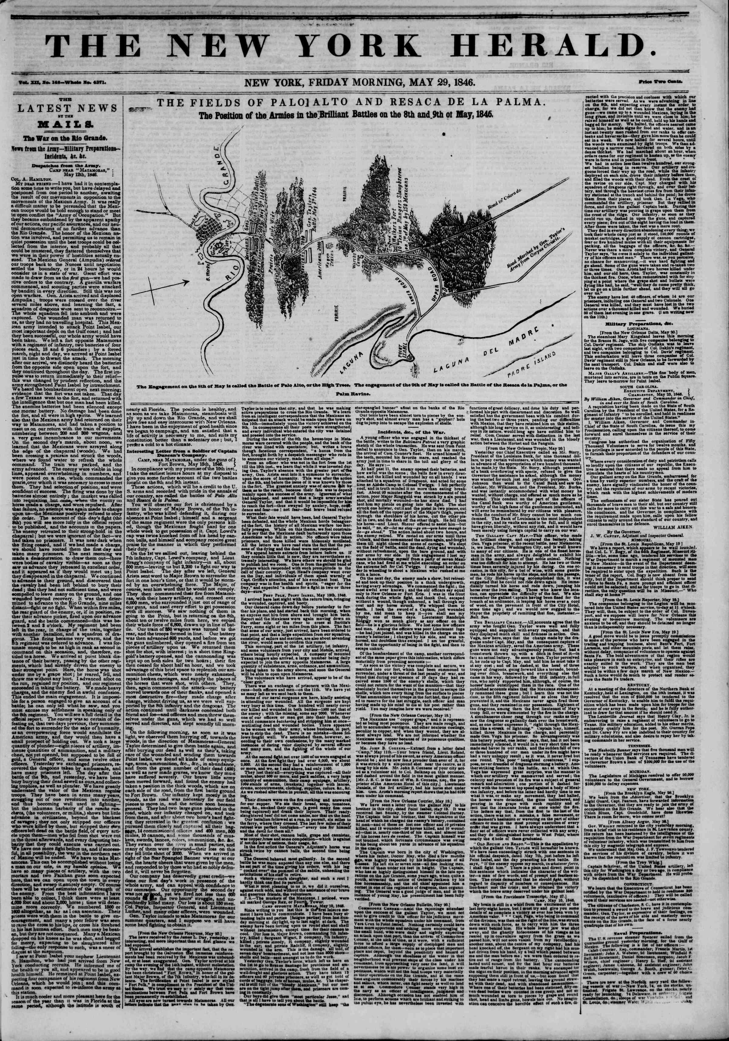 29 Mayıs 1846 tarihli The New York Herald Gazetesi Sayfa 1