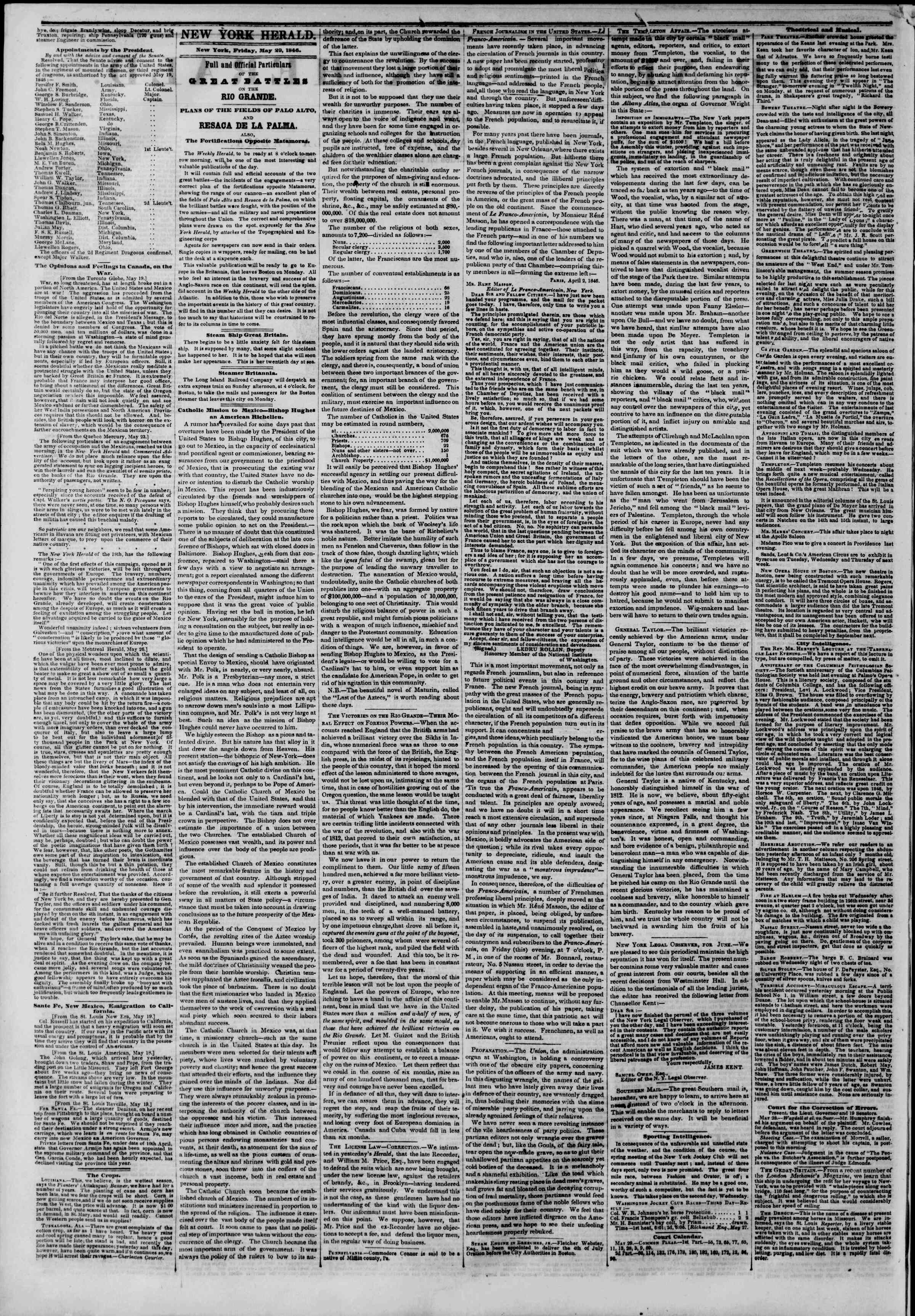 Newspaper of The New York Herald dated May 29, 1846 Page 2