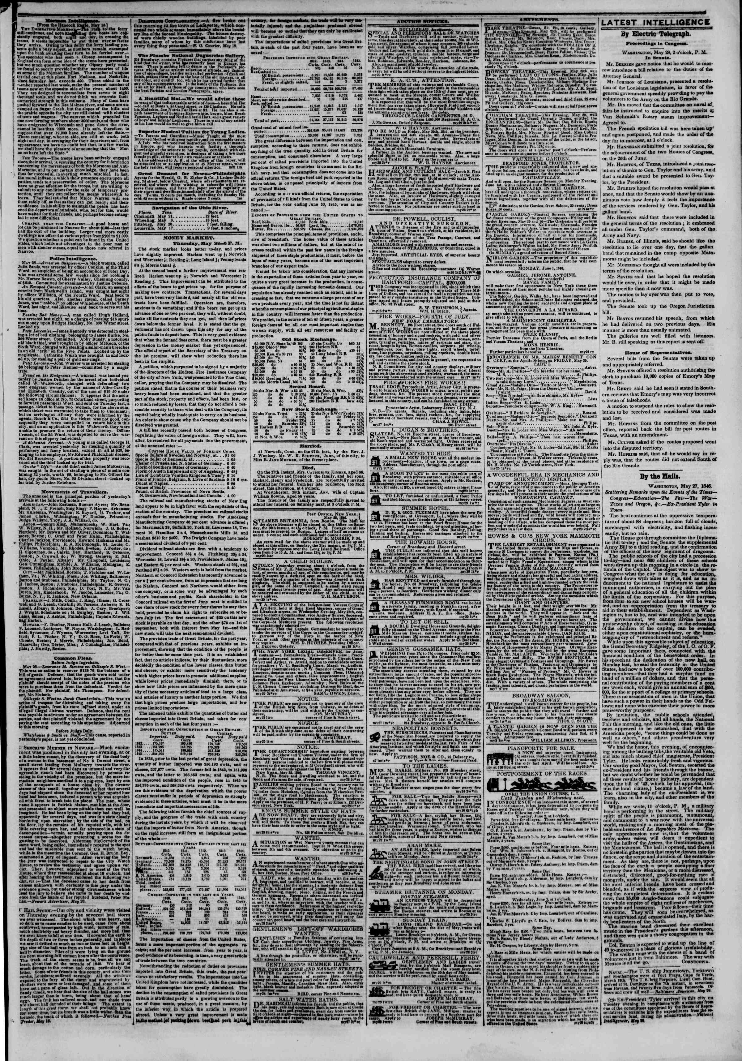 Newspaper of The New York Herald dated May 29, 1846 Page 3