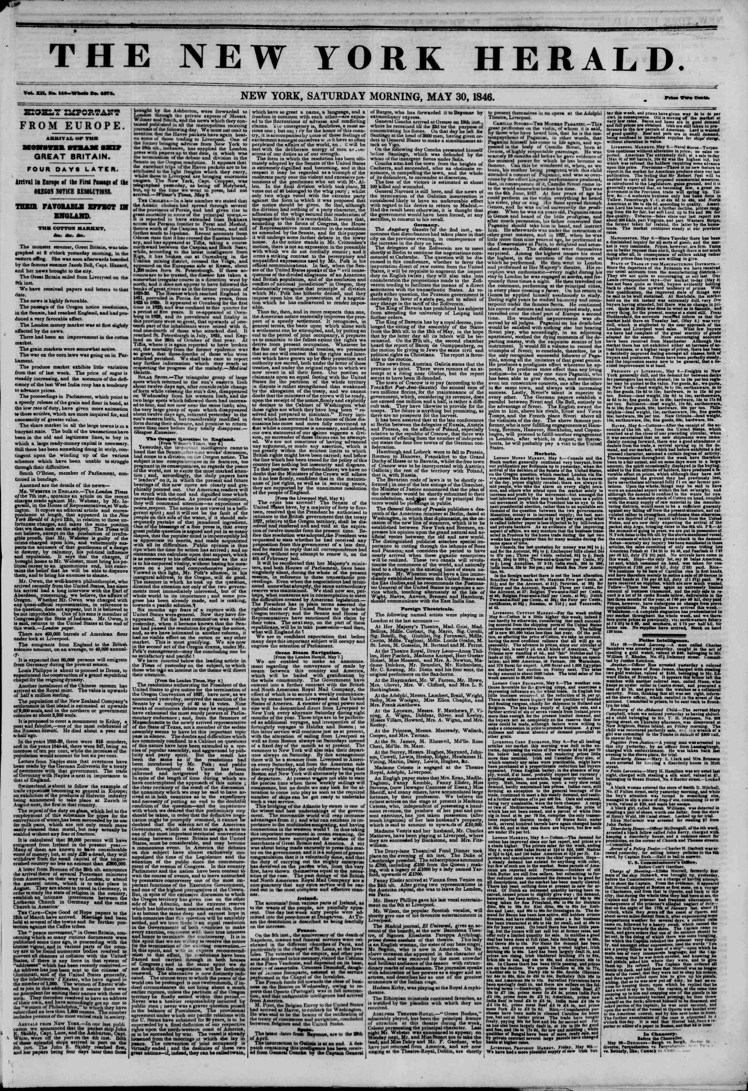 Newspaper of The New York Herald dated May 30, 1846 Page 1