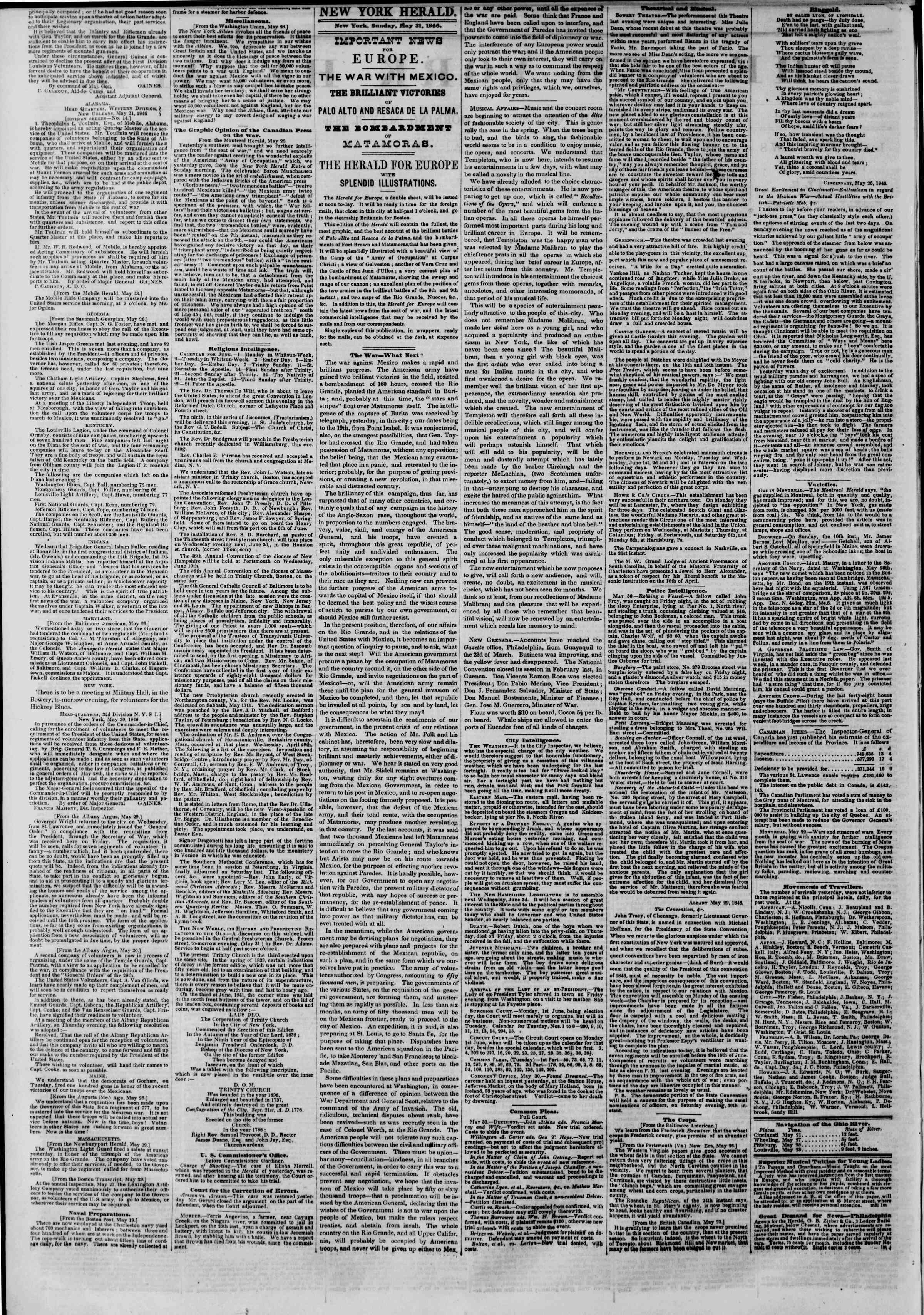 Newspaper of The New York Herald dated May 31, 1846 Page 2