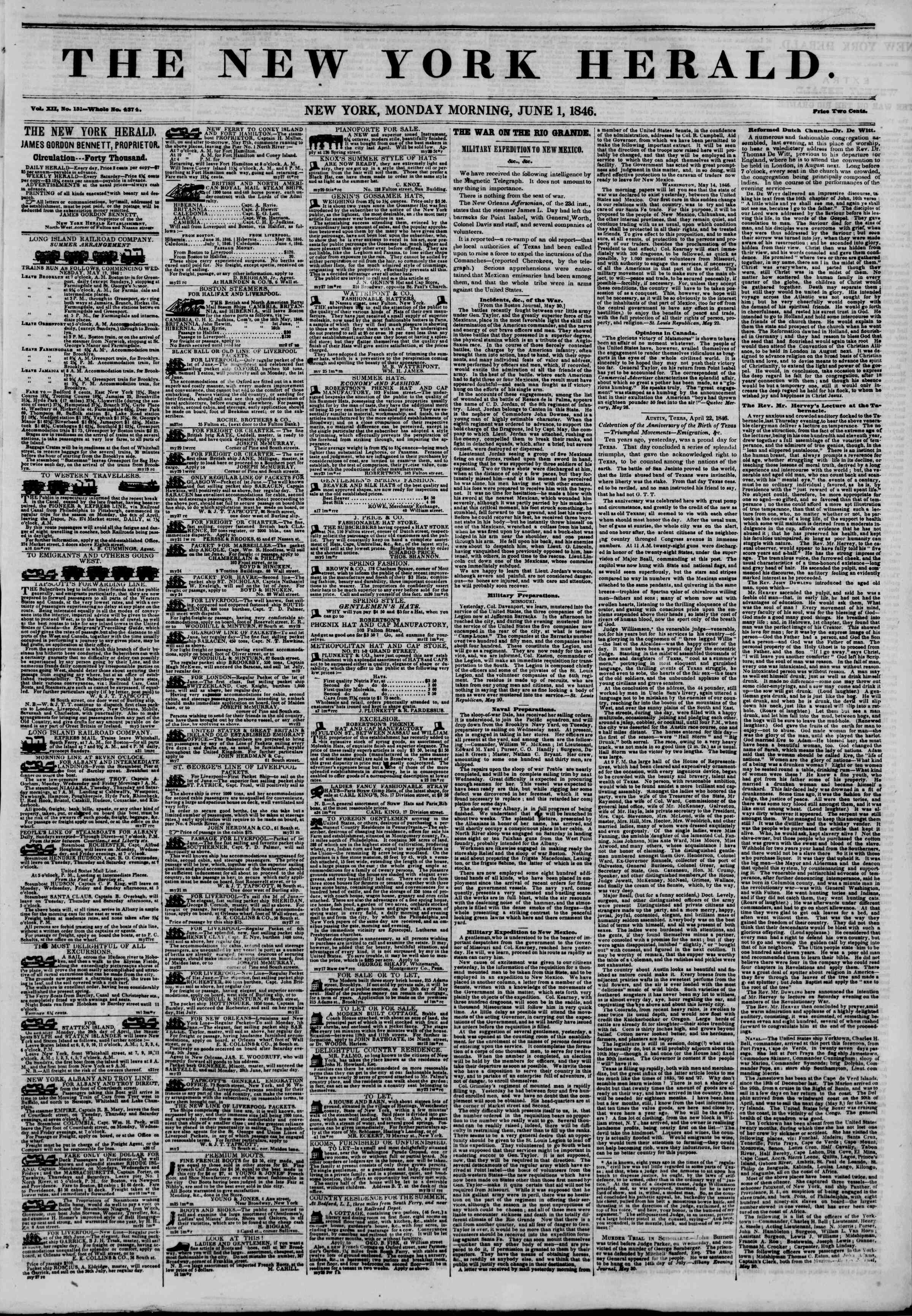 Newspaper of The New York Herald dated June 1, 1846 Page 1